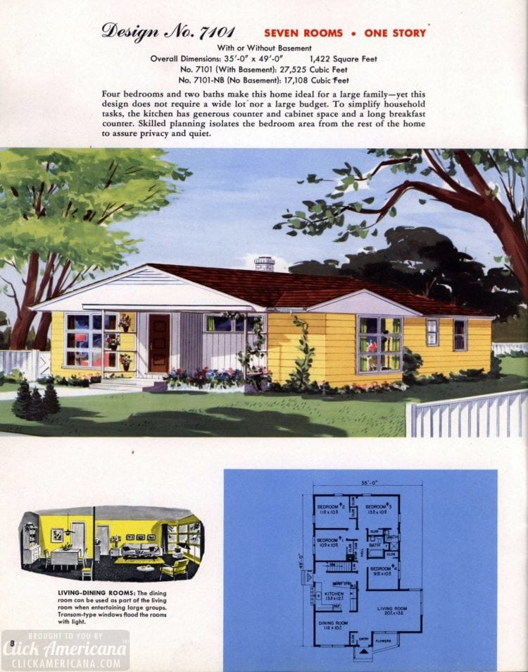 Classic house plans from 1955 - 50s suburban home designs at Click Americana (9)