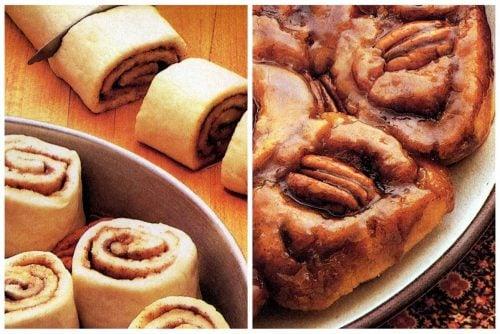 Classic recipe for caramel rolls for breakfast