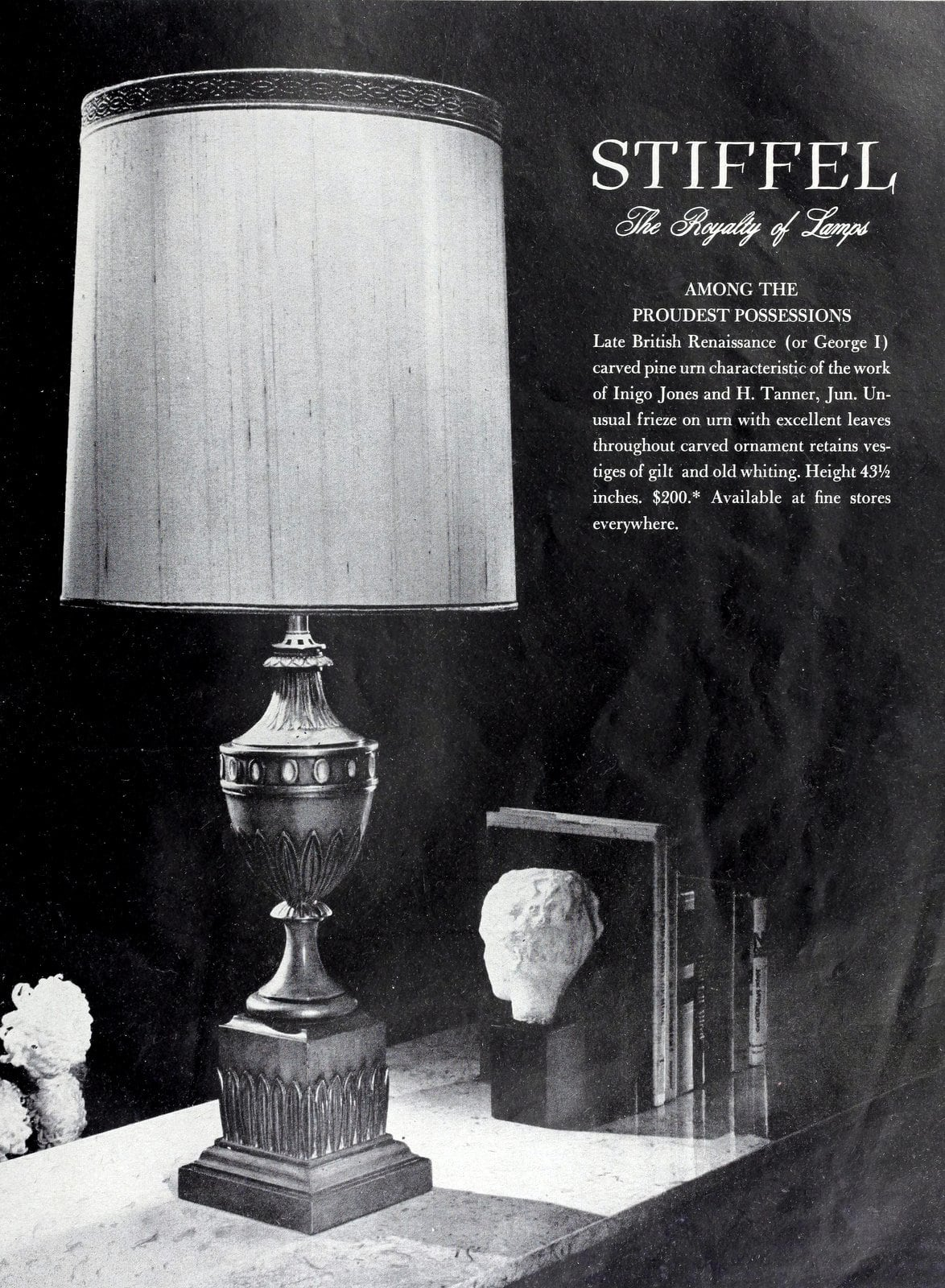 Classic-style carved pine urn lamp base with silk shade (1962)