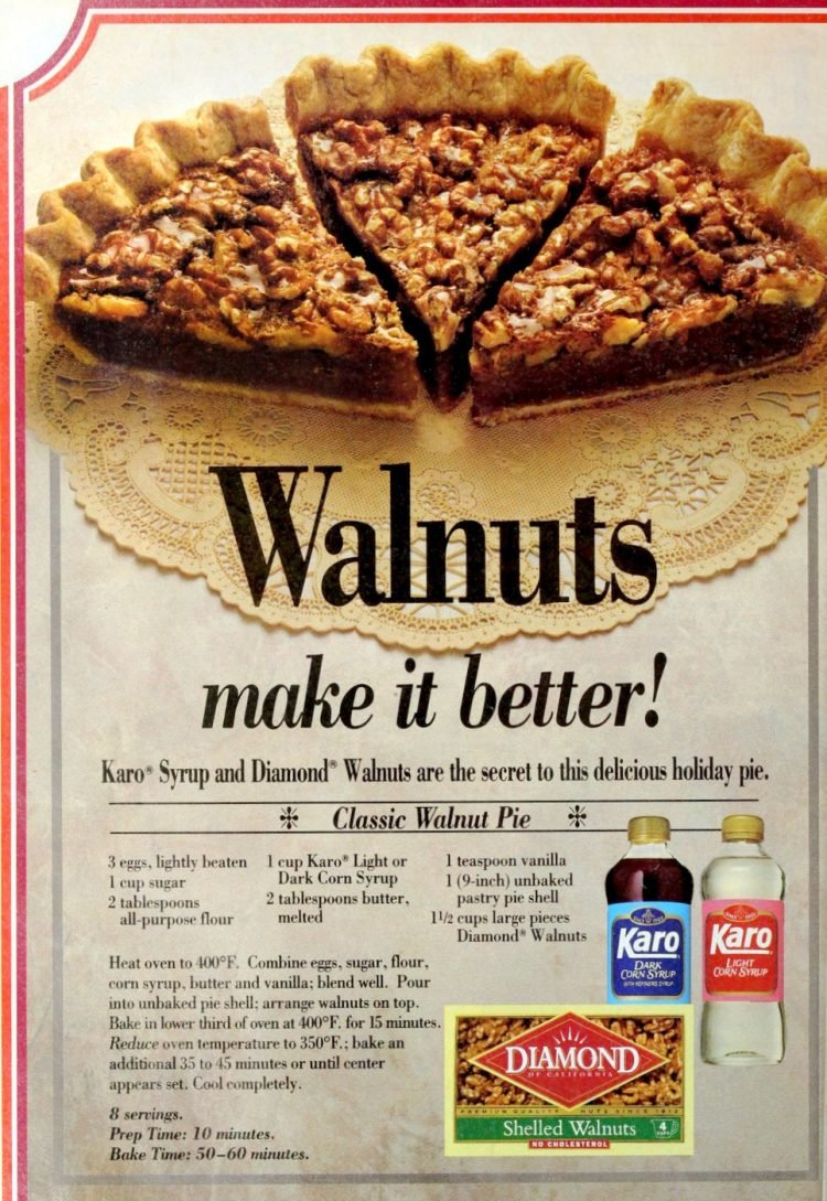 Classic walnut pie - vintage 1990s recipe