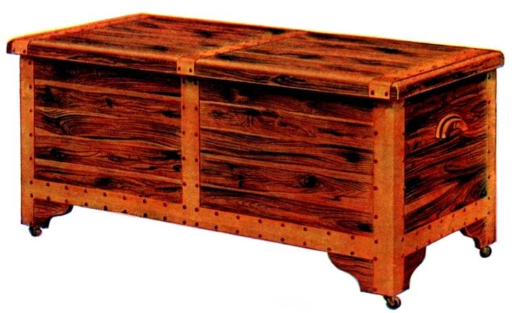 Classic wooden antique hope chest for linens