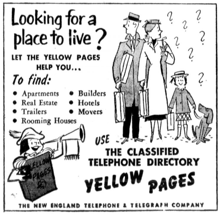 Classified Yellow Pages telephone directory - 1952