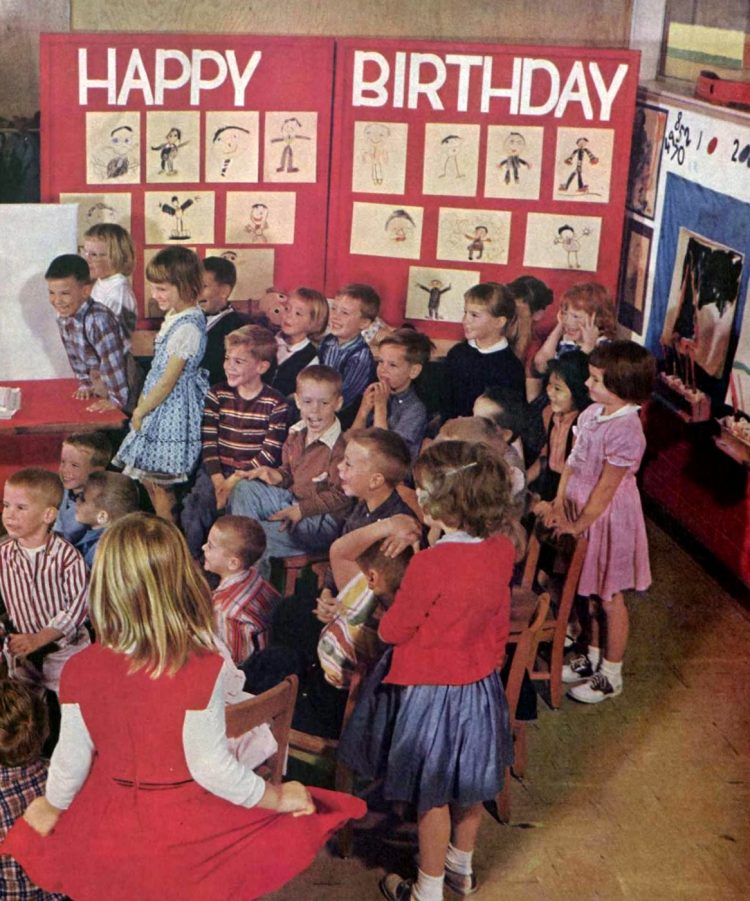 Classroom scene at elementary school in the 1950s