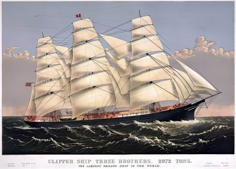 Clipper ship Three Brothers - Currier & Ives, 1875