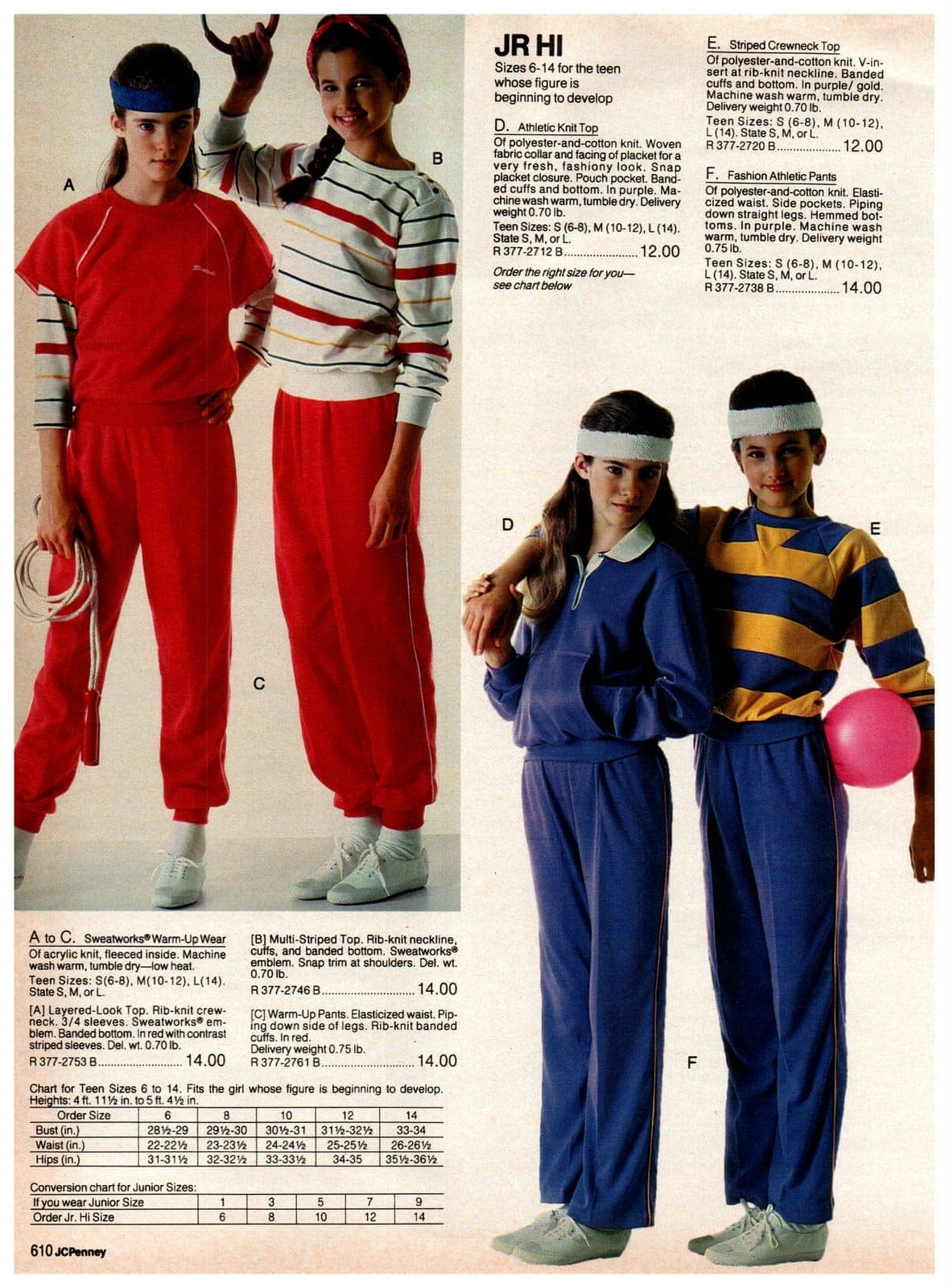 Sweatsuits for girls - retro athletic warm-up wear, knit tops and striped crewneck tops