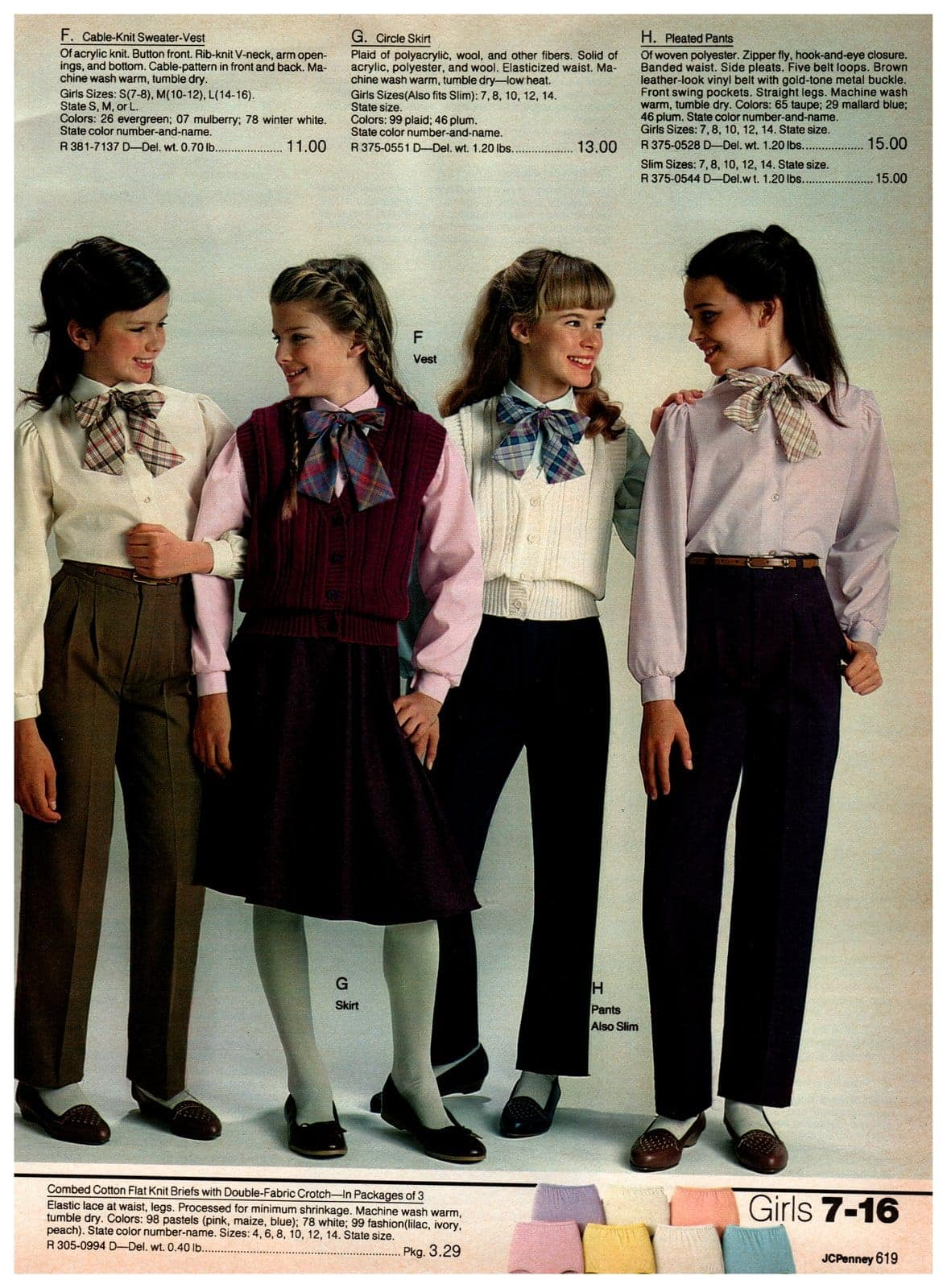 Preppy cable-knit sweater vests, circle skirts and pleated pants - worn with long-sleeved blouses and big neck bows