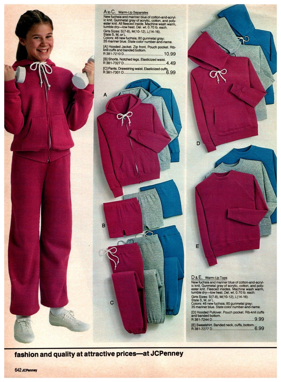 Warm-up separates - jogging pants and sweatshirts for girls, in bright pink, bright blue and grey