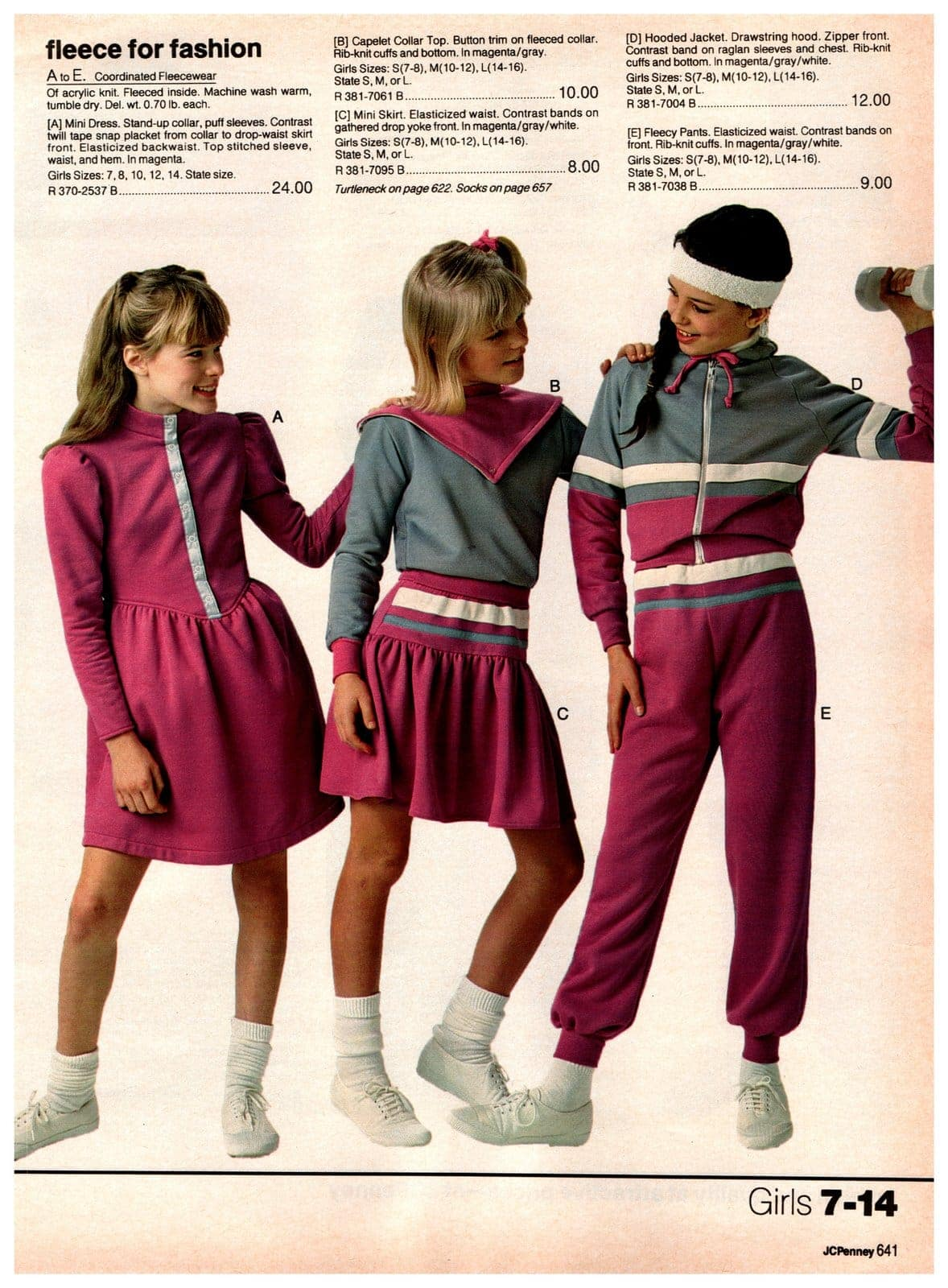 Fleecy sweatshirt material pants, miniskirts, jackets, dresses, and tops for girls ages 7 to 14