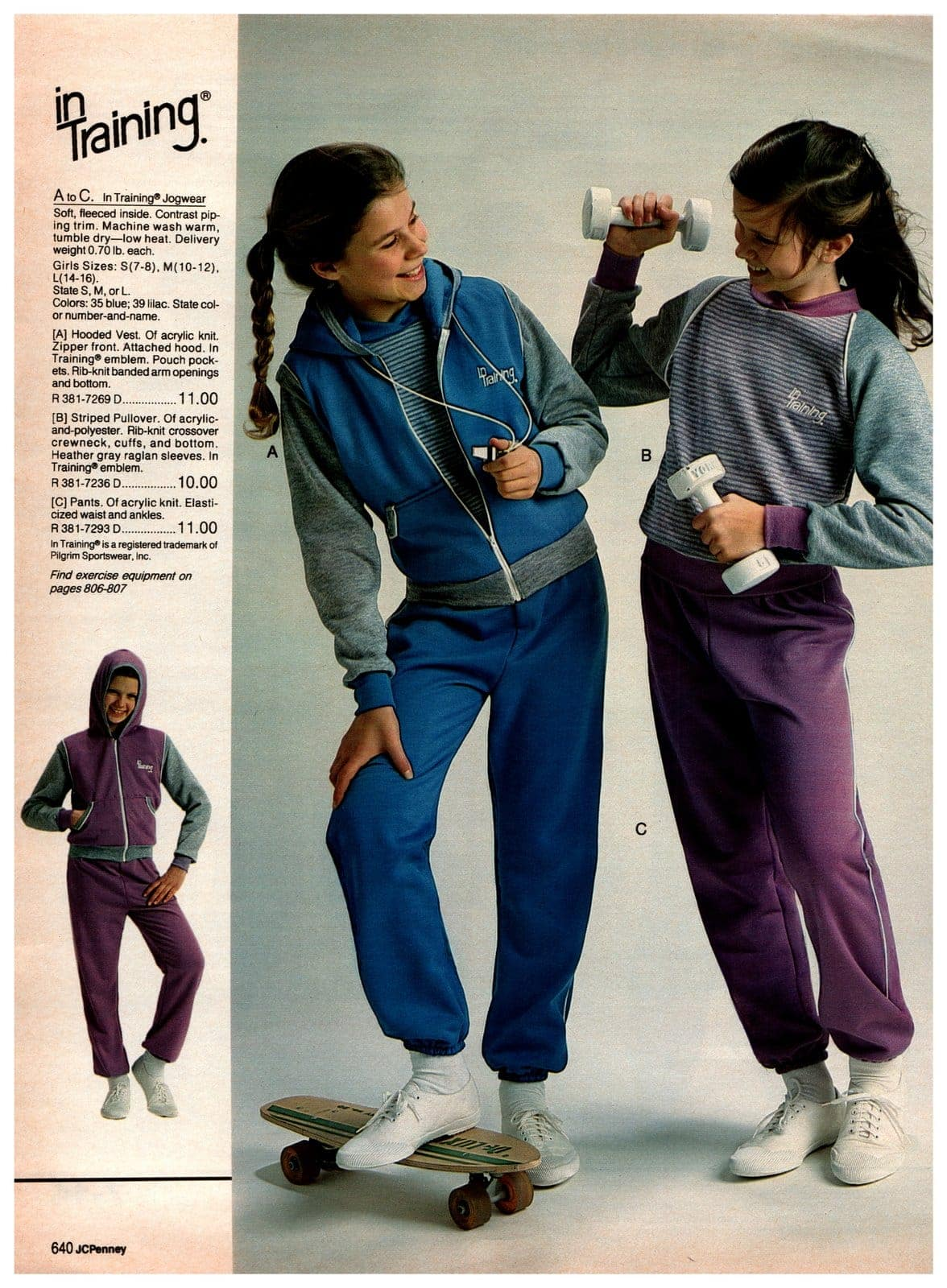 Activewear and retro stylish jogwear - vest, pullover and sweatpants for girls
