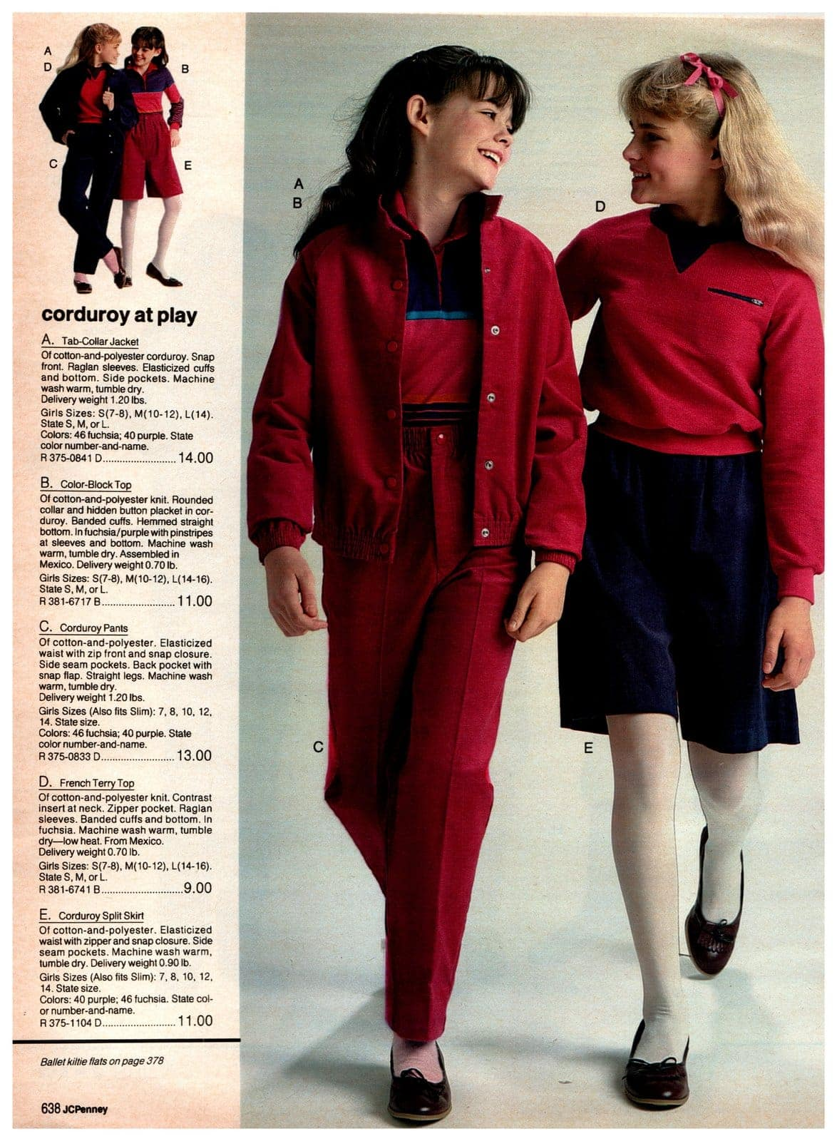Corduroy separates for girls - jackets, tops, pants, split skirts