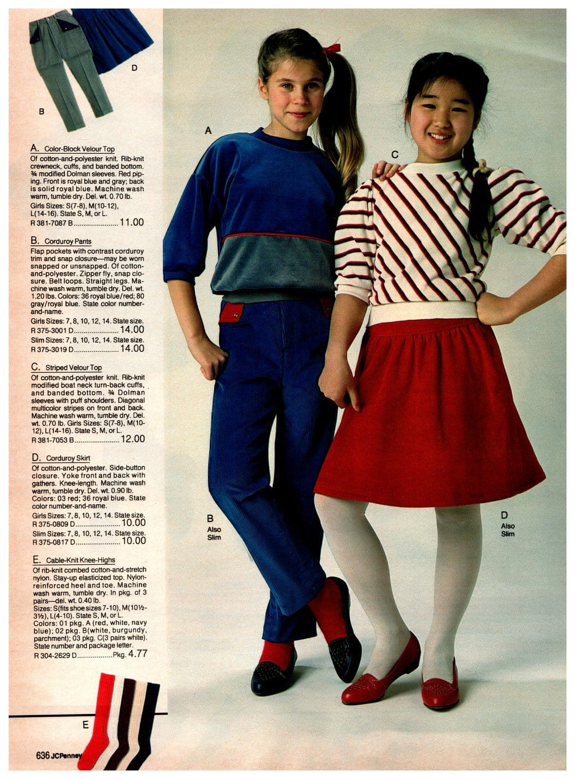 Color-block velour top and corduroy pants - and a striped velour top with a corduroy skirt