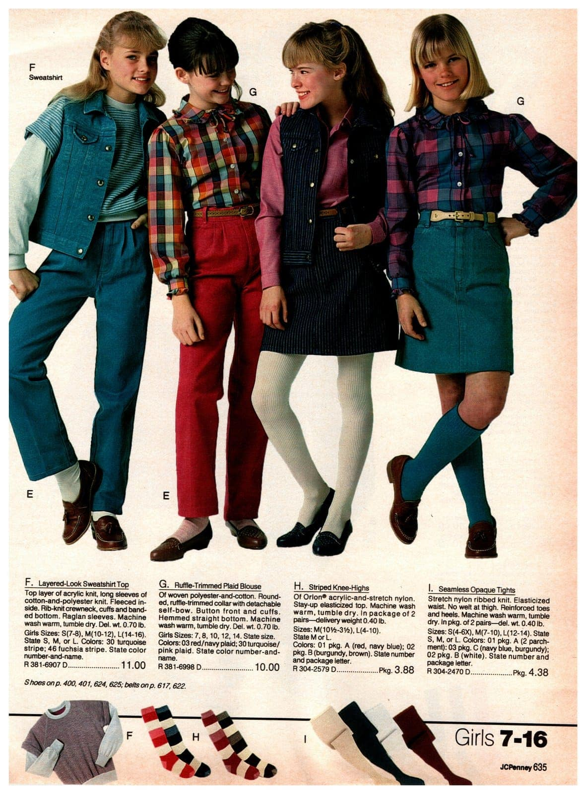 The hottest '80s styles for teens and tweens - ruffle-trimmed plaid blouses, striped knee-high shocks and sweatshirt tops
