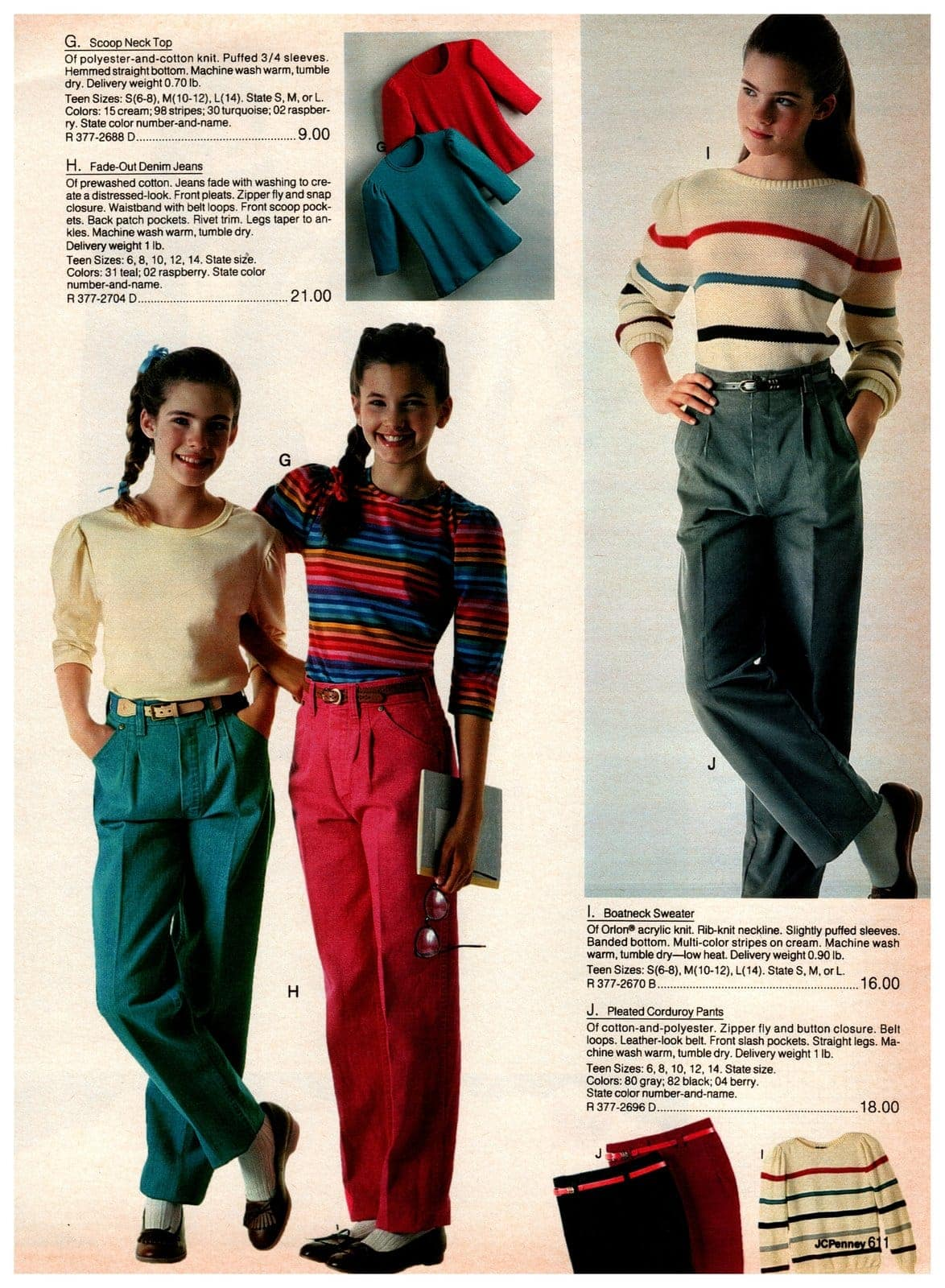 Vintage '80s scoop-neck top, fade-out denim jeans, boatneck sweaters and pleated corduroy pants for pre-teens