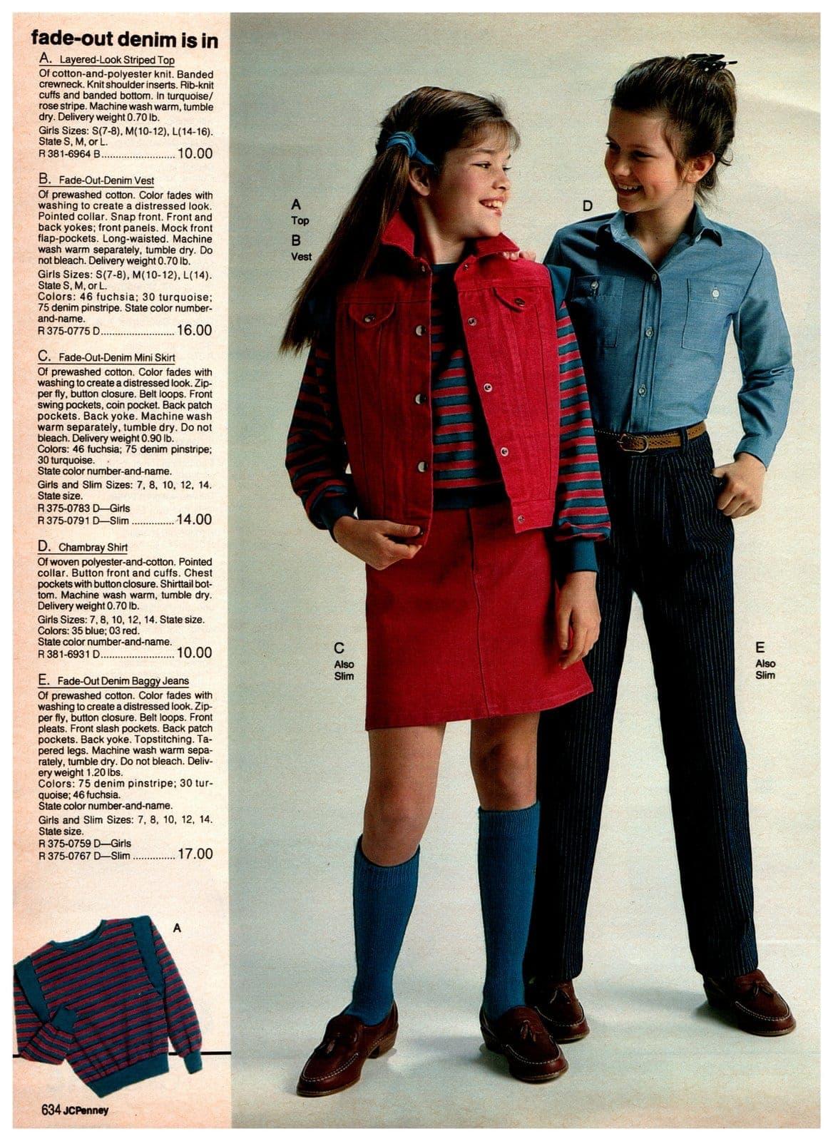 Layered-look striped top, denim vests, denim miniskirt, chambray skirt and denim baggy jeans