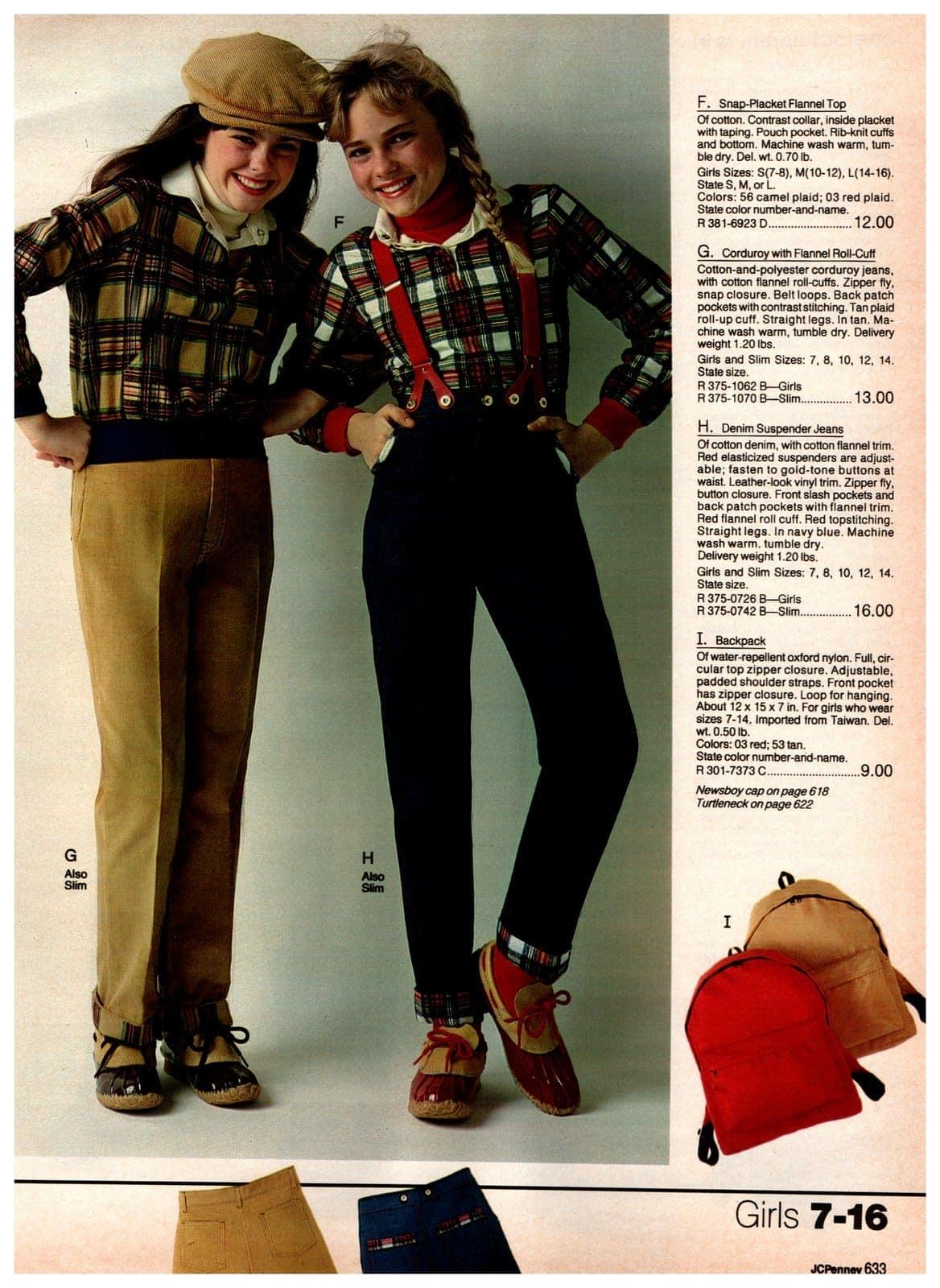 Plaid flannel tops, vintage corduroy pants, suspenders, jeans and backpacks
