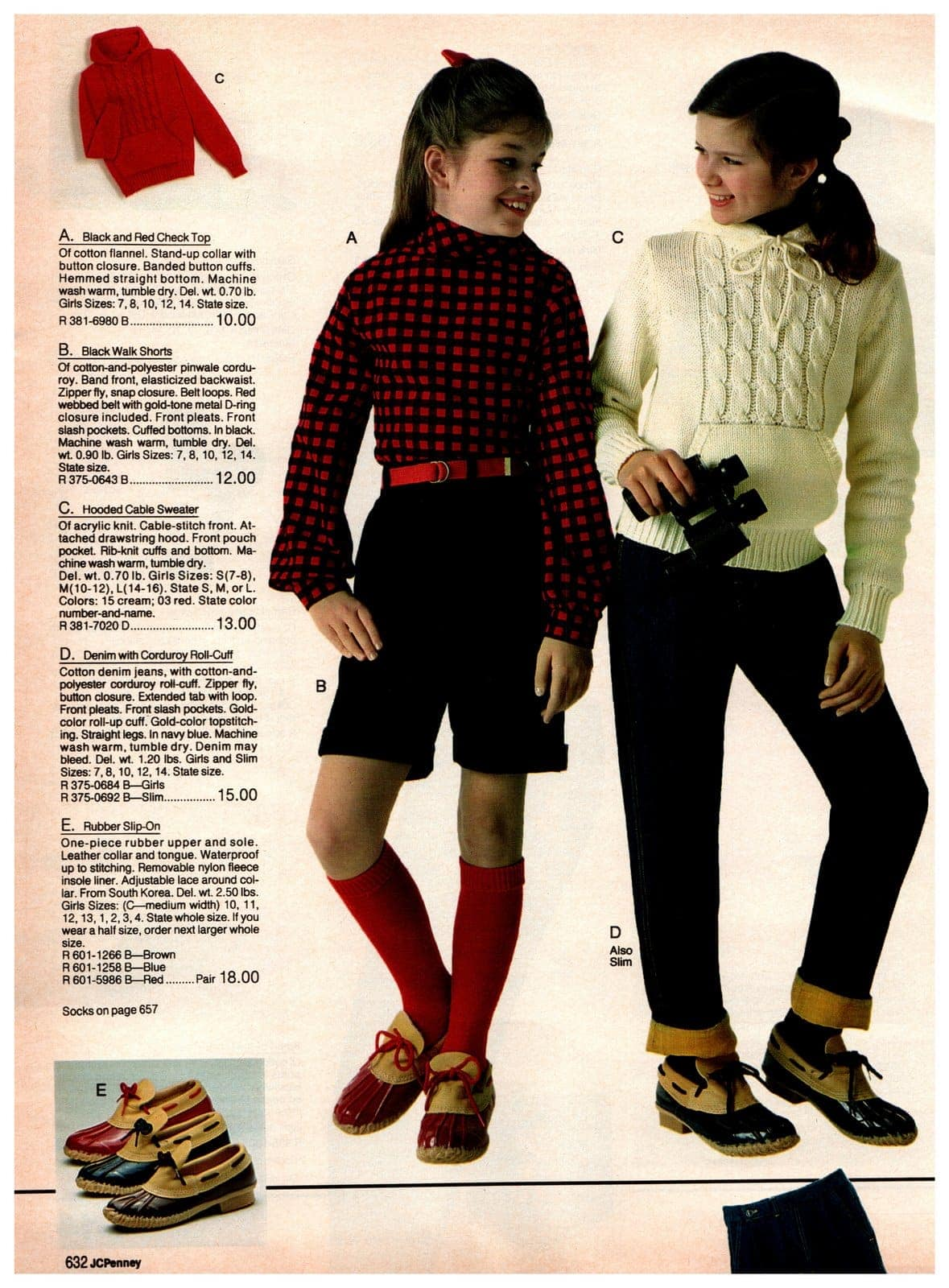 Black and red checked tops, walk shorts, hooded cable sweaters and denim with corduroy roll cuffs