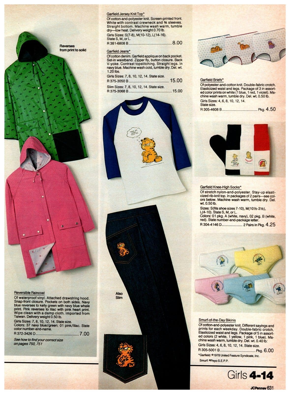 Reversible raincoats, Garfield shirts and pants, plus Garfield and Smurfs underwear and socks