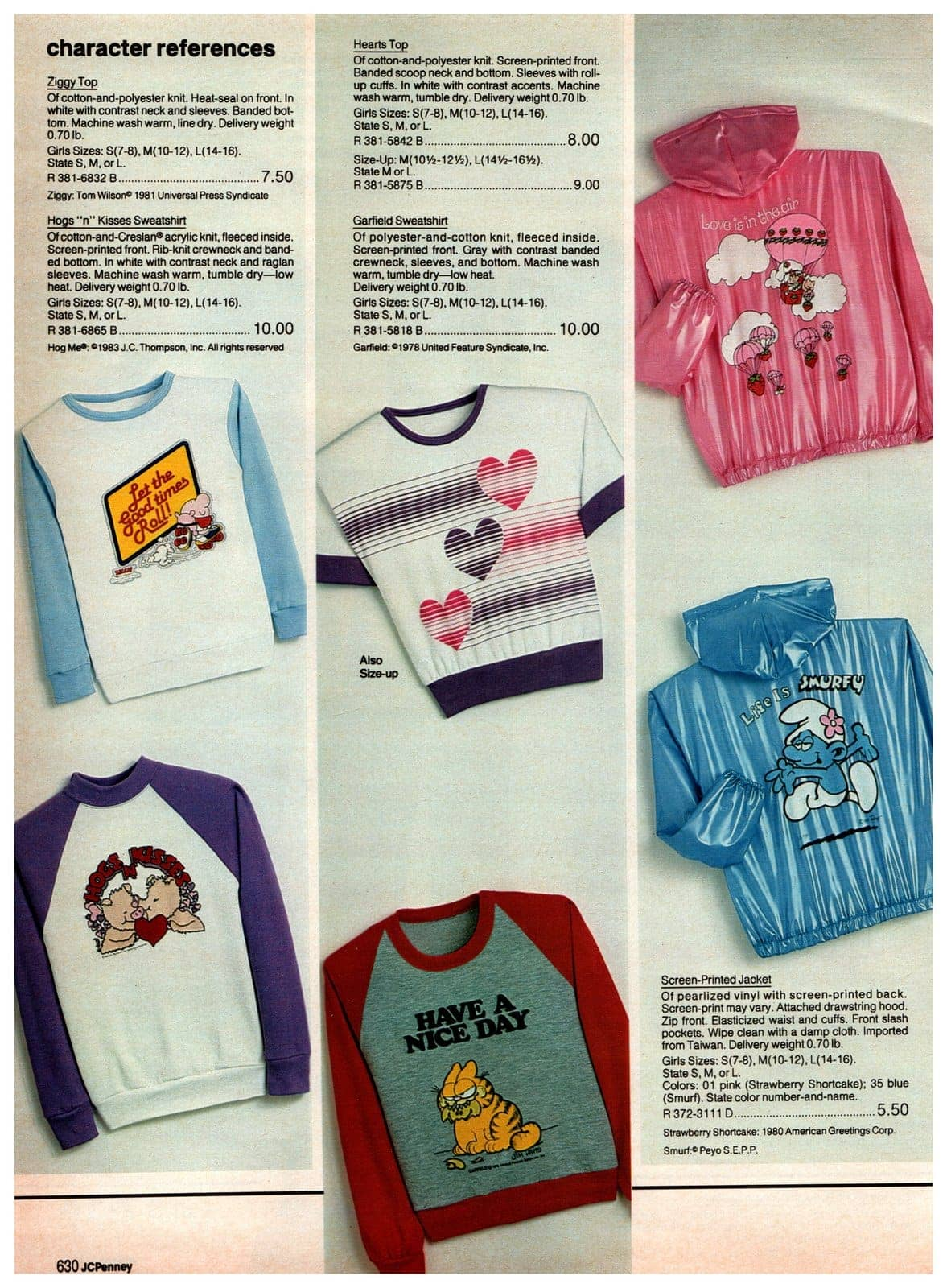 Novelty tops with Ziggy, Hogs 'n' Kisses and Garfield - plus shiny Smurfs and Strawberry Shortcake pearlized vinyl jackets