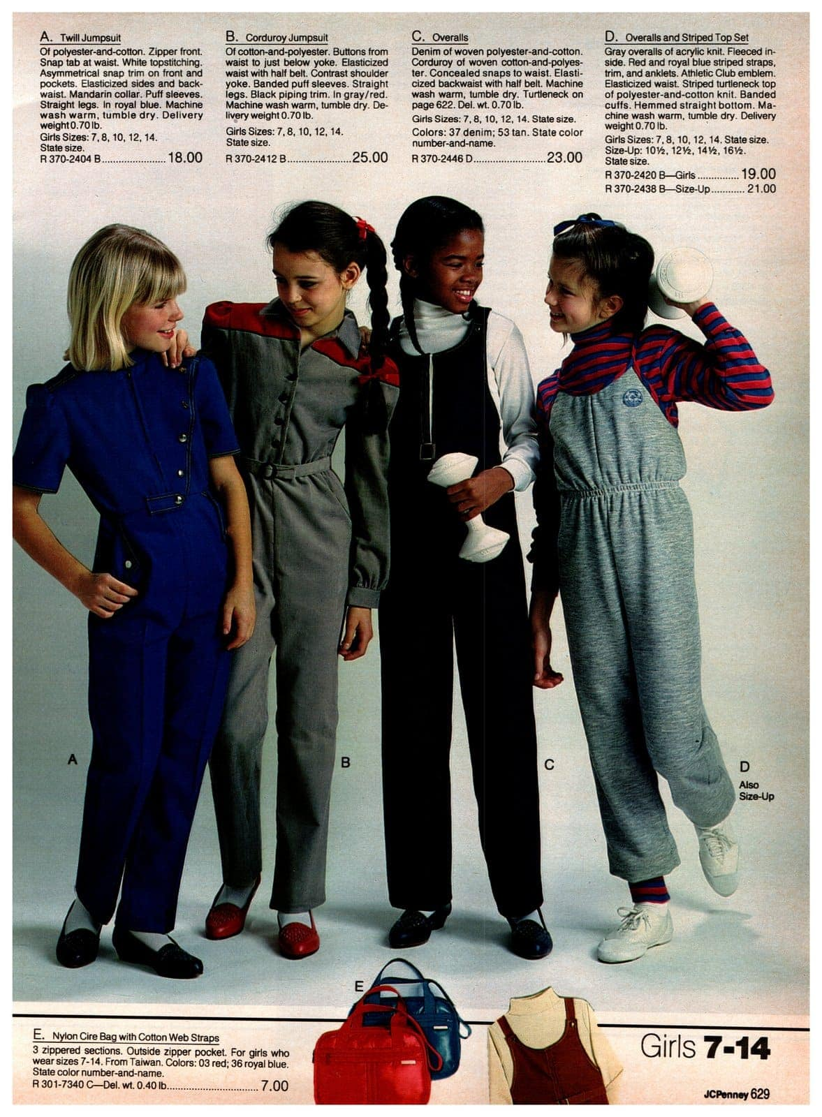 Twill jumpsuits, corduroy jumpsuits, overalls and an overall-striped top set