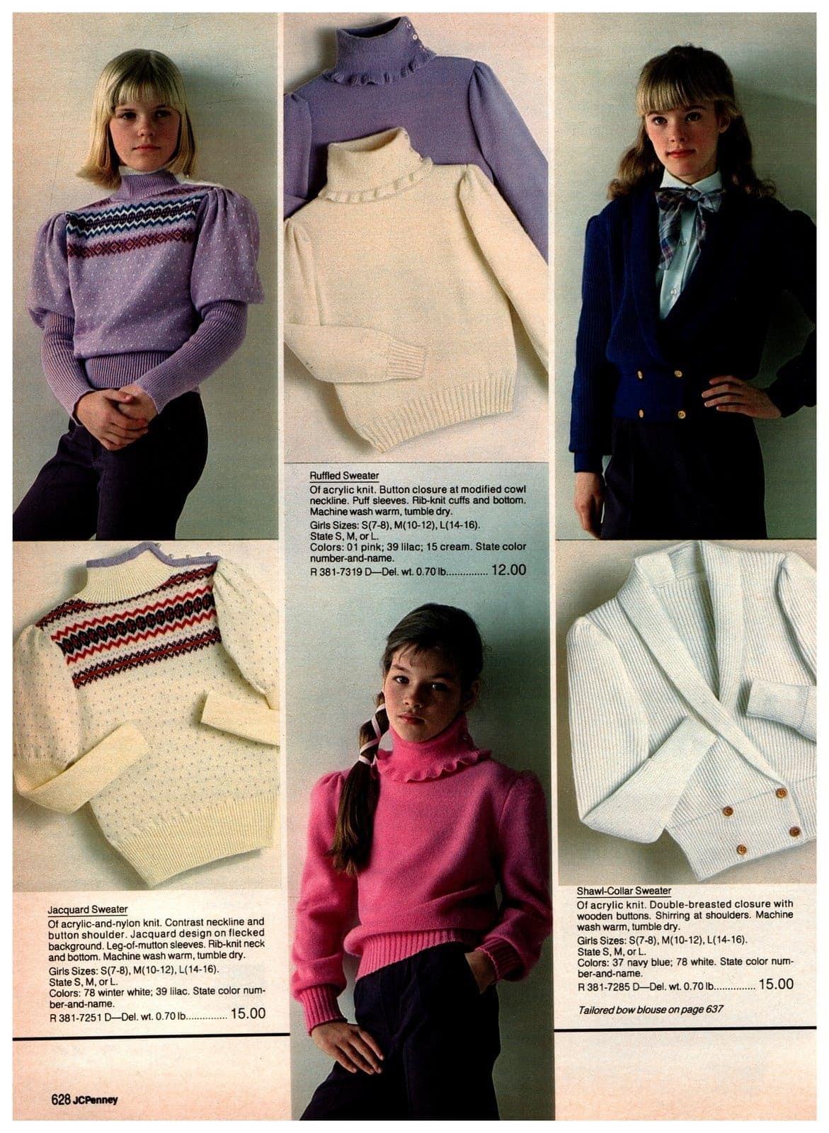 Jacquard sweaters with leg of mutton sleeves, ruffled sweaters, and shawl-collar sweaters for girls