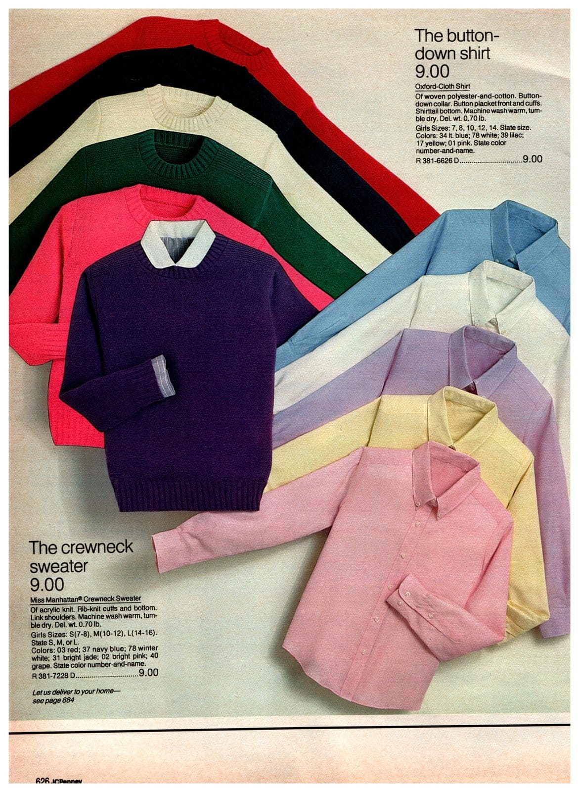 Button-down Oxford cloth shirts and crewneck acrylic knit sweaters
