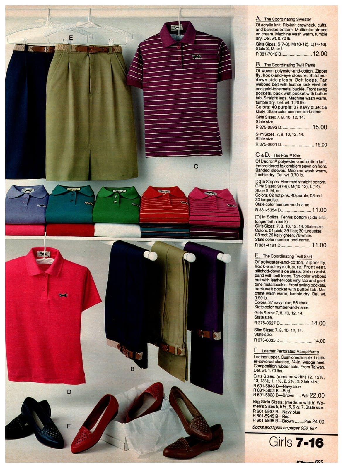 Preppy polo shirts, twill pants and skirts - plus leather perforated-vamp pumps