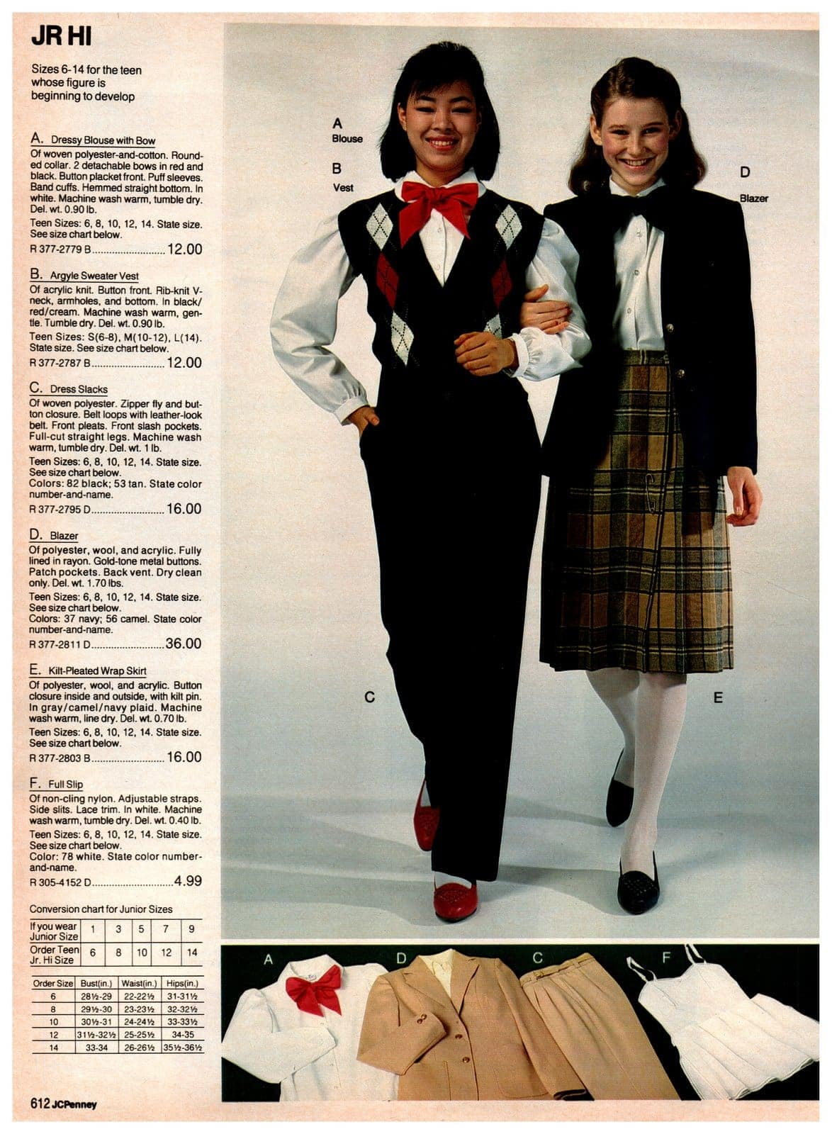 Preppy eighties outfits for girls - sweater, jackets and slacks