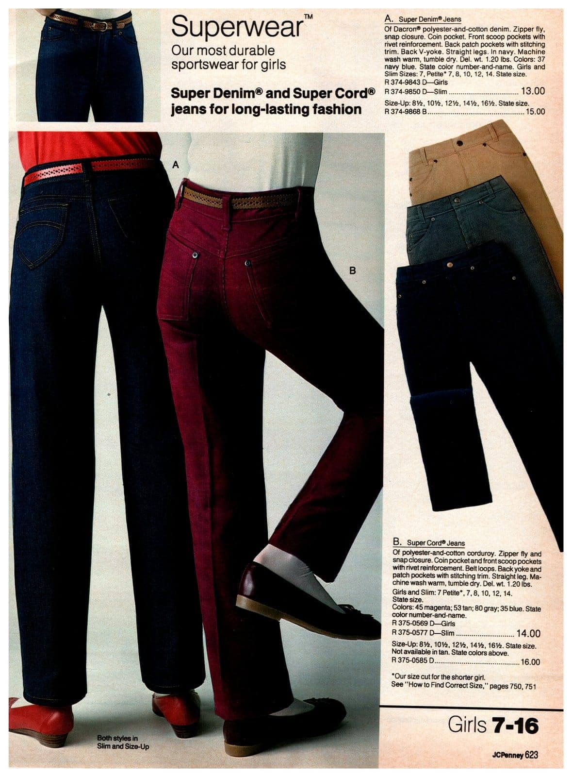 Super denim and super cord jeans for long-lasting sportswear fashion