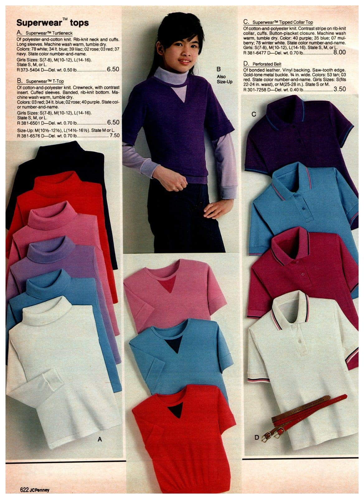 Superwear '80s tops for girls - turtlenecks, tees, tipped collar tops, polos and more