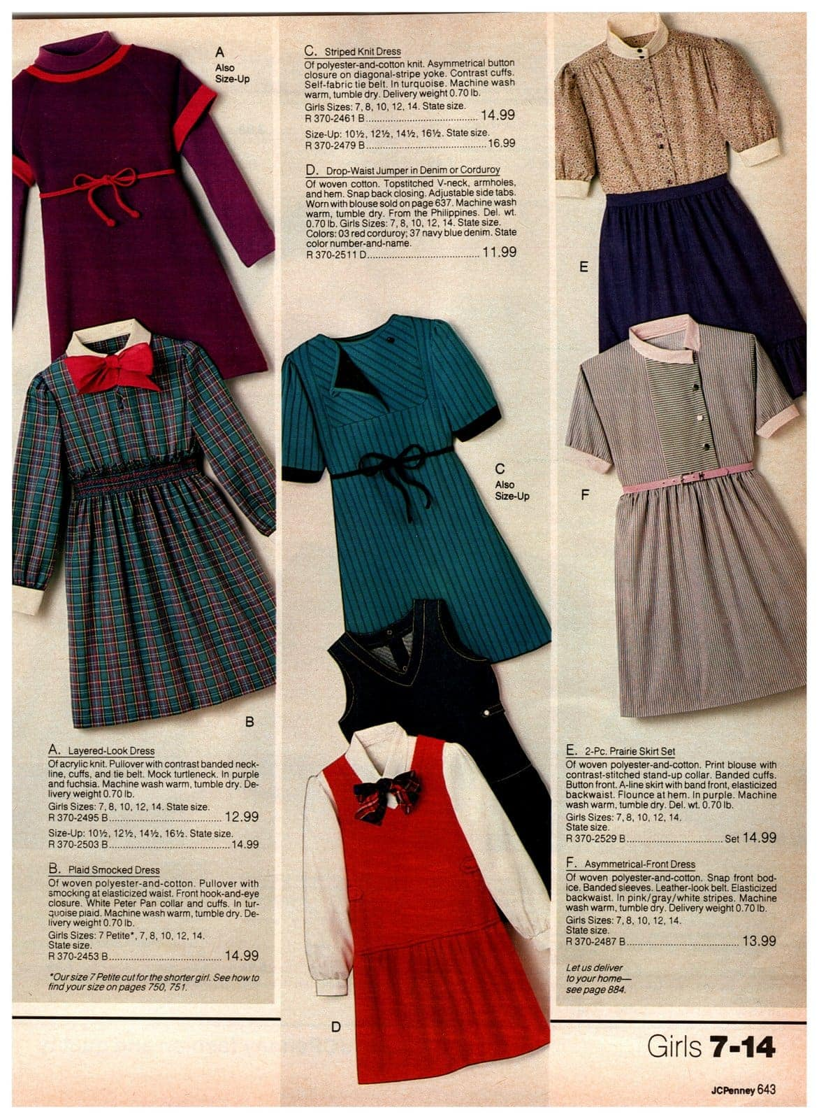 Layered-lock dresses, plus plaid-smocked, striped knit and asymmetrical front dresses