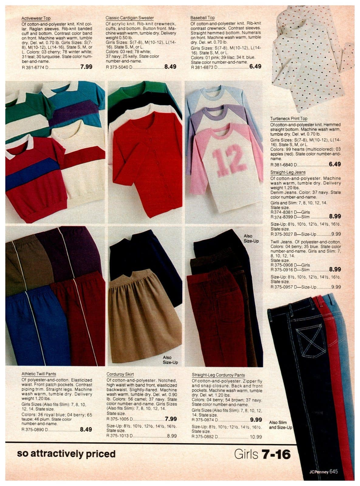 Vintage styles of activewear tops, cardigan sweaters, baseball jerseys, print turtleneck tops and straight-leg jeans