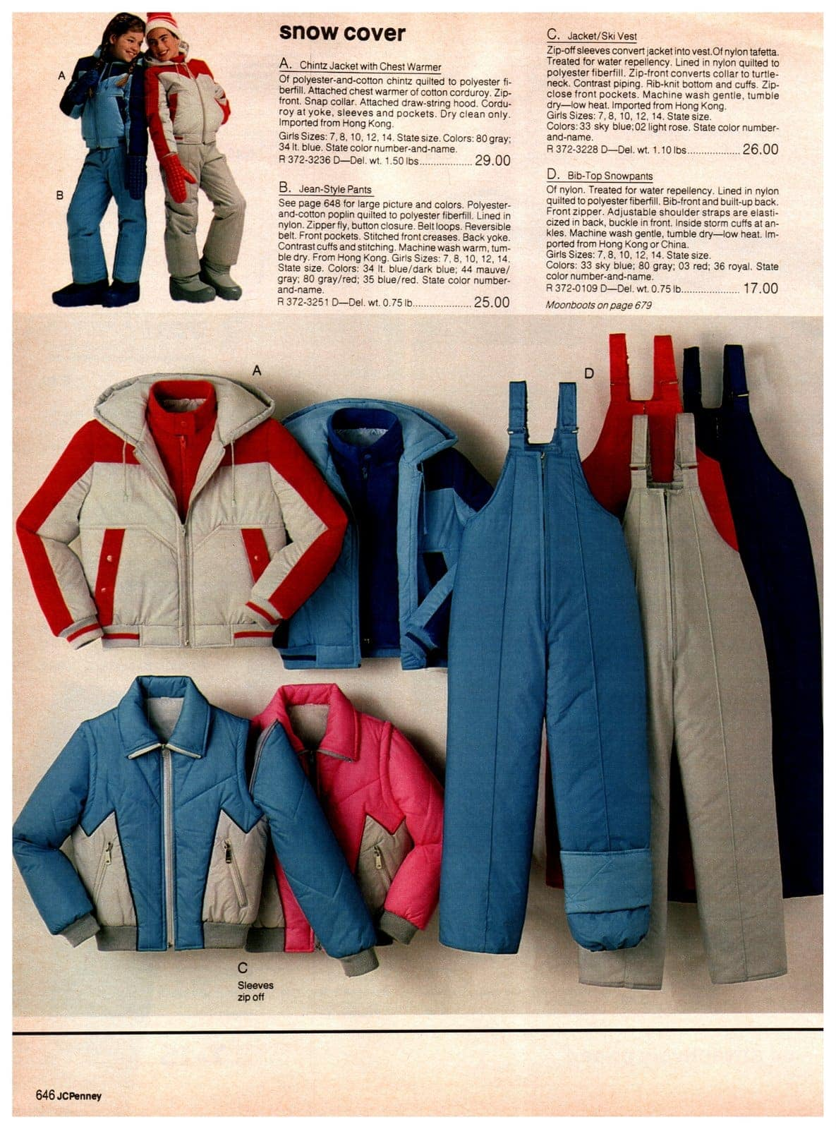 Chintz jacket with chest warmer, jean-style pants, jacket and ski vests and bib-top snowpants