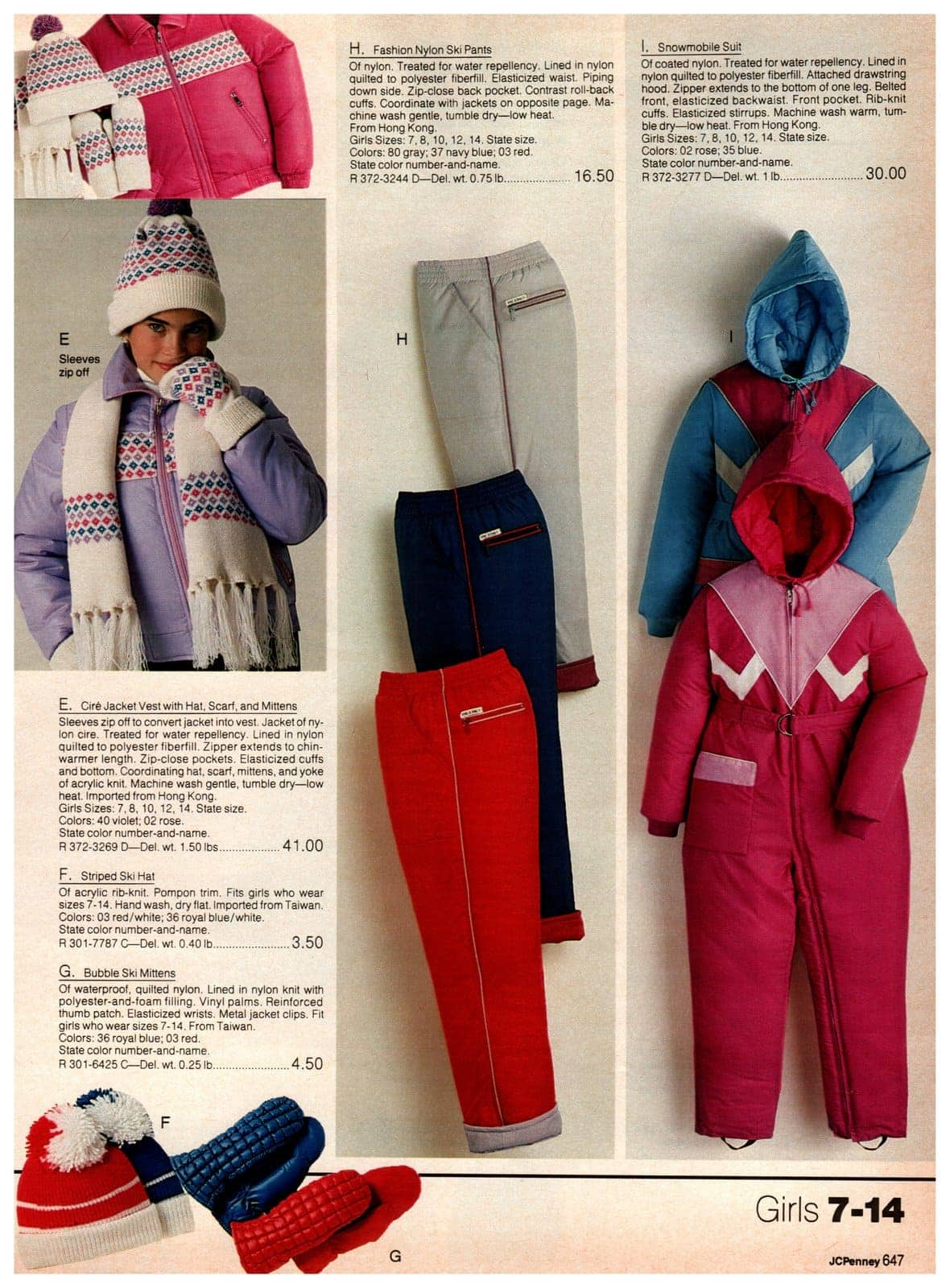 Fashion nylon ski pants, snowmobile suits, jacket vests, striped ski hats and bubble ski mittens for girls