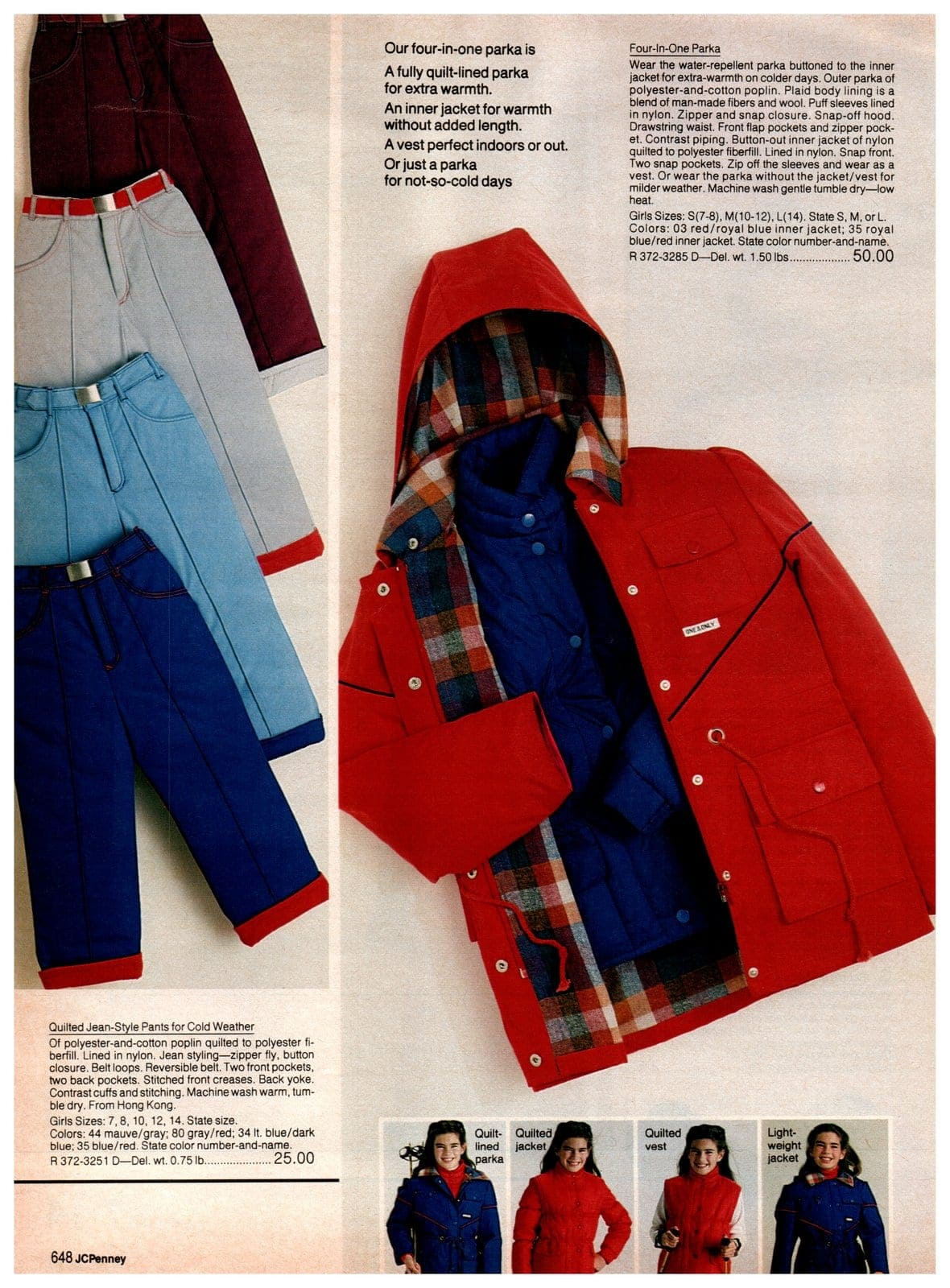 An '80s four-in-one fully-lined parka with vest, and quilted jean-style cold weather pants