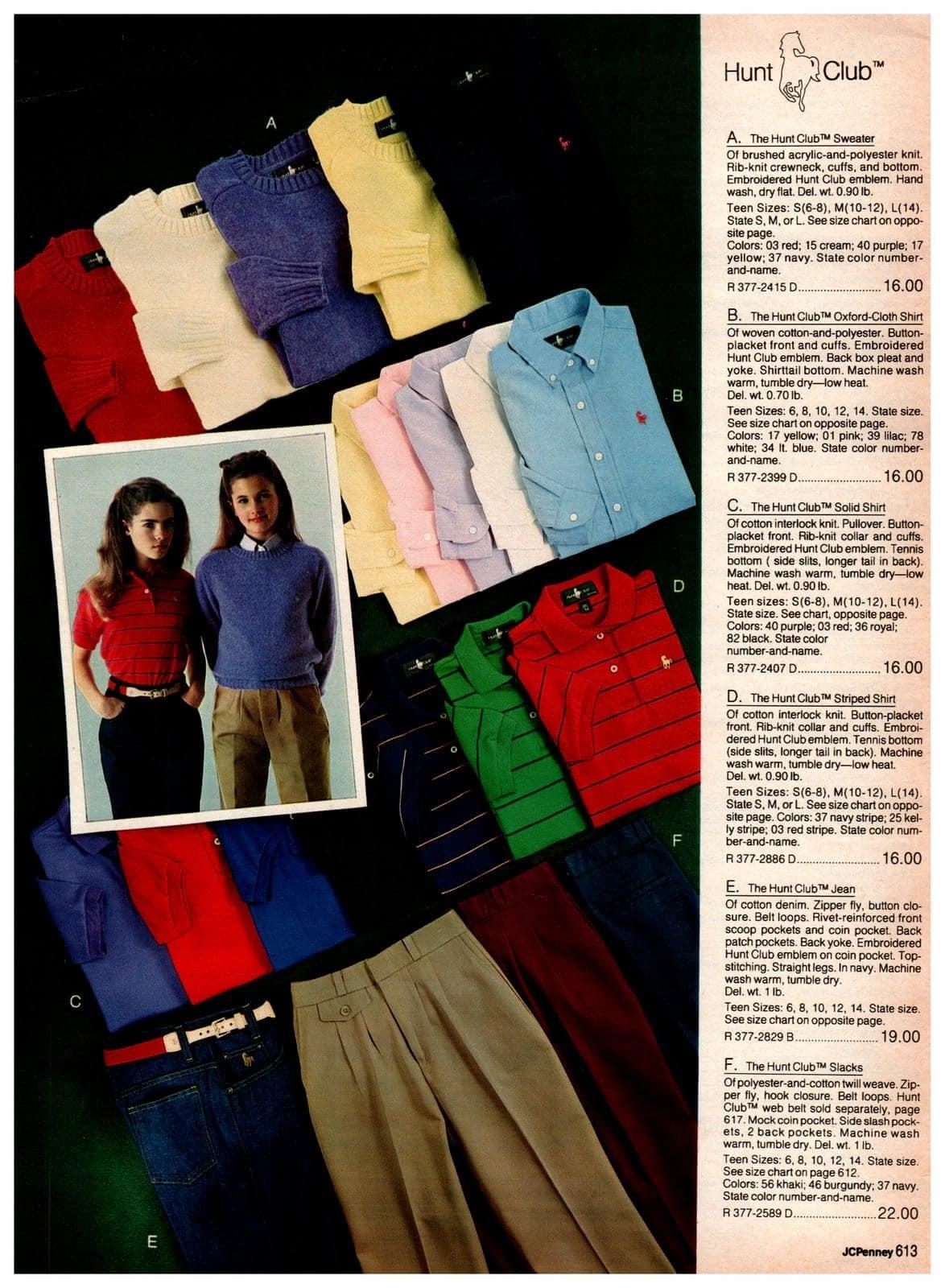 Hunt Club sweaters, polo shirts, oxfords, striped shirts, jeans, khakis and slacks