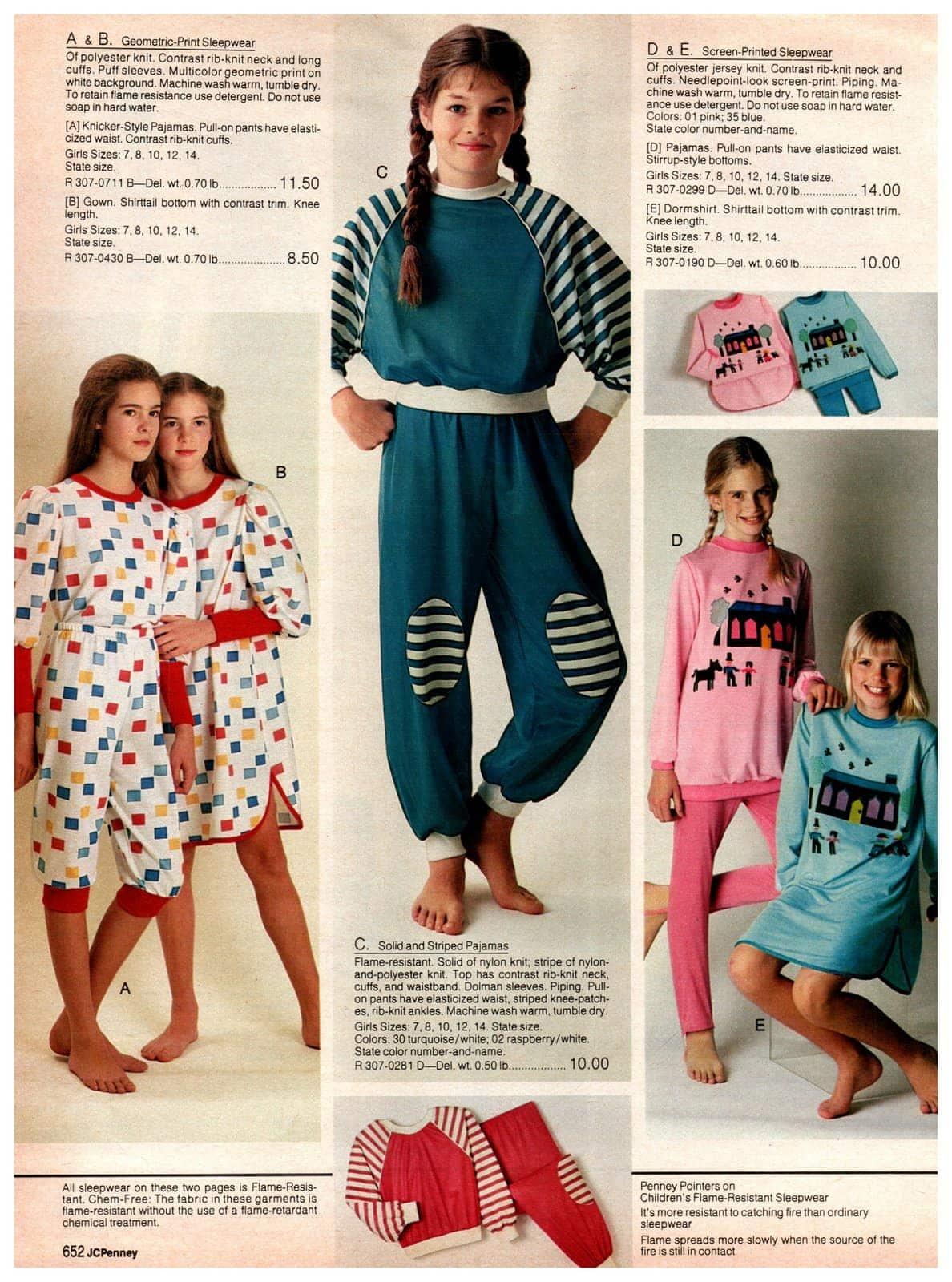 Vintage sleepwear - geometric prints, screen-printed sleepwear, solid and striped knit pajamas