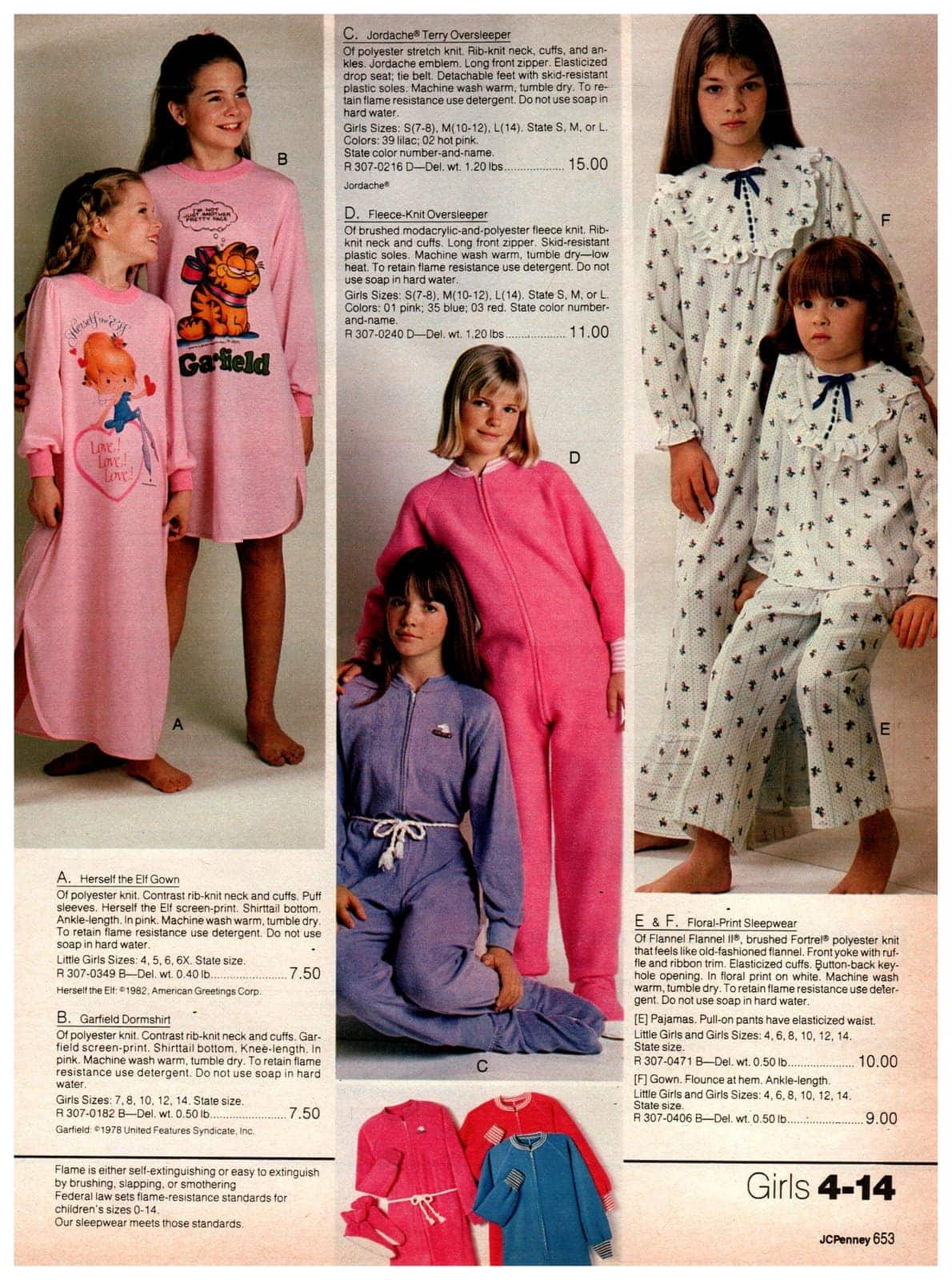 Retro '80s nightgowns and pajamas for girls, including those with Garfield the Cat and Herself the Elf