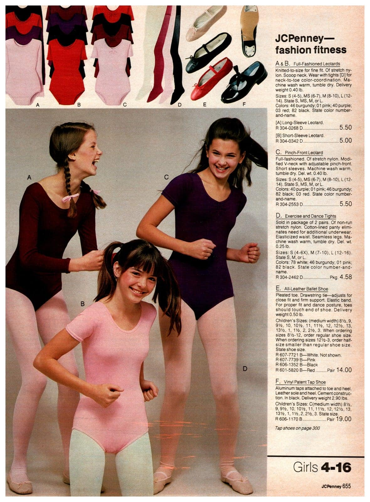 Fashion fitness and leotards for girls from the '80s