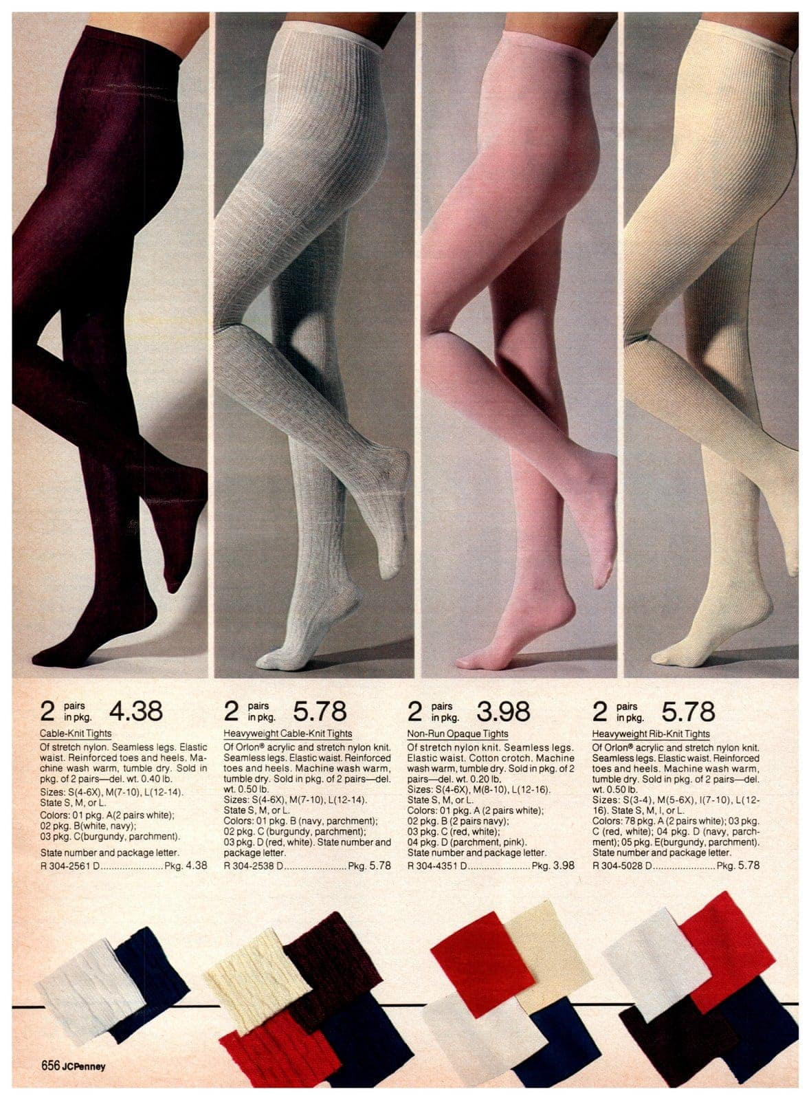 Cable-knit tights, opaque tights and rib-knit tights for girls