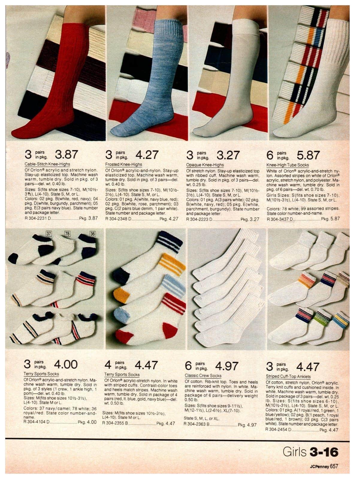 Knee-high socks for girls, terry sports socks, crew socks, tube socks and knee-highs