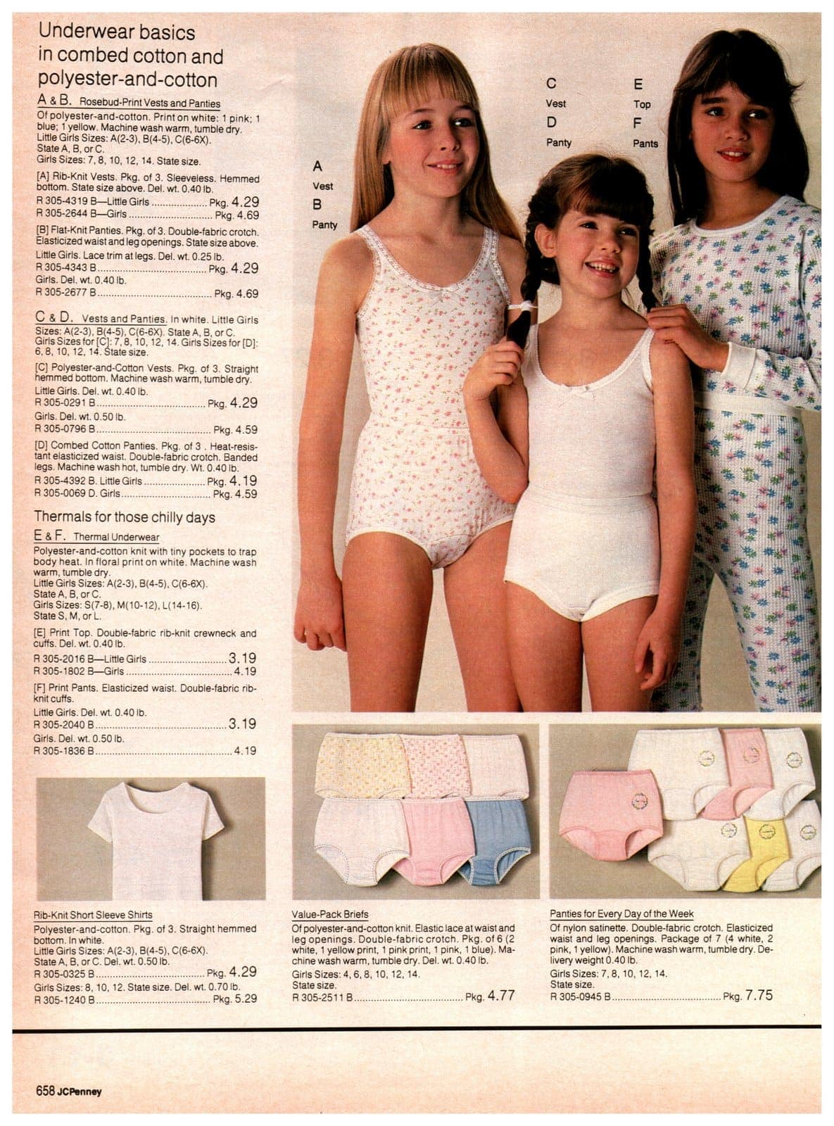 Underwear basics for girls - print vests, vests and panties and thermal underwear