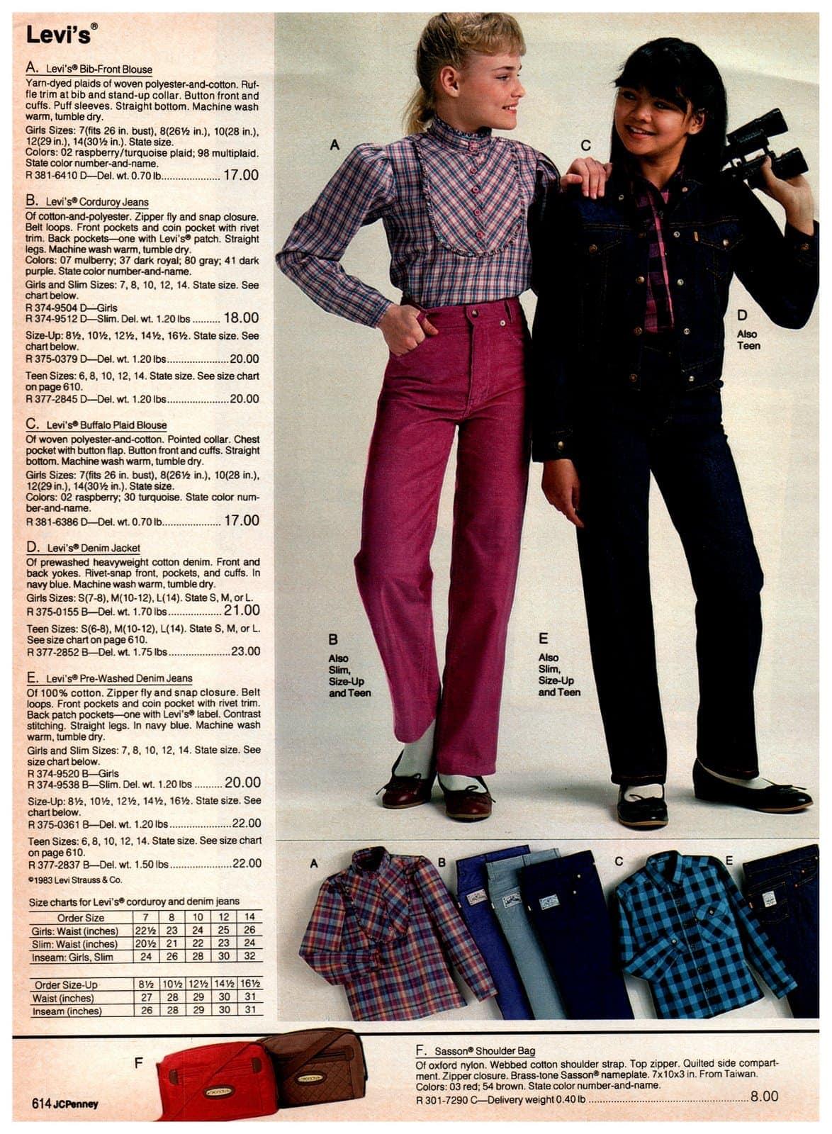 Levi's bib-front blouse, corduroy jeans, Buffalo plaid blouse, denim jacket and jeans - plus a Sassoon shoulder bag
