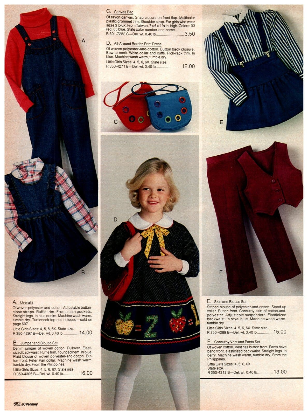 Ruffle-trim overalls, jumper and blouse sets, skirts and blouses and corduroy vests and pants