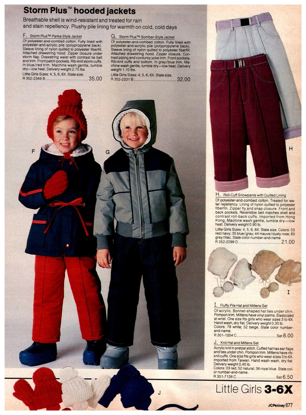 Storm Plus parka-style jackets and bomber-style jackets, plus snow pants, hats and mittens