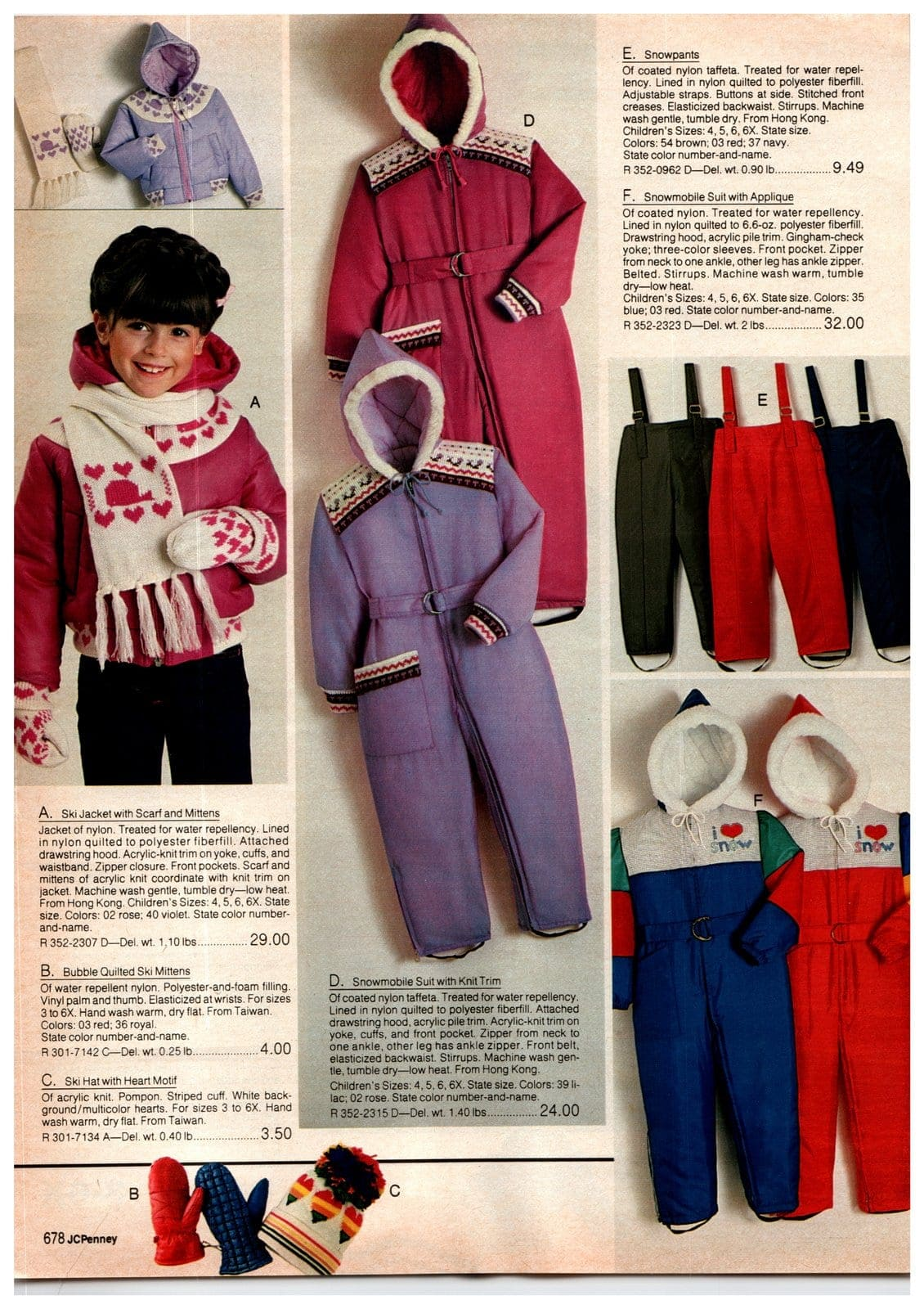 Snowsuits, snowmobile suits, ski jackets, ski mittens and ski hats for girls