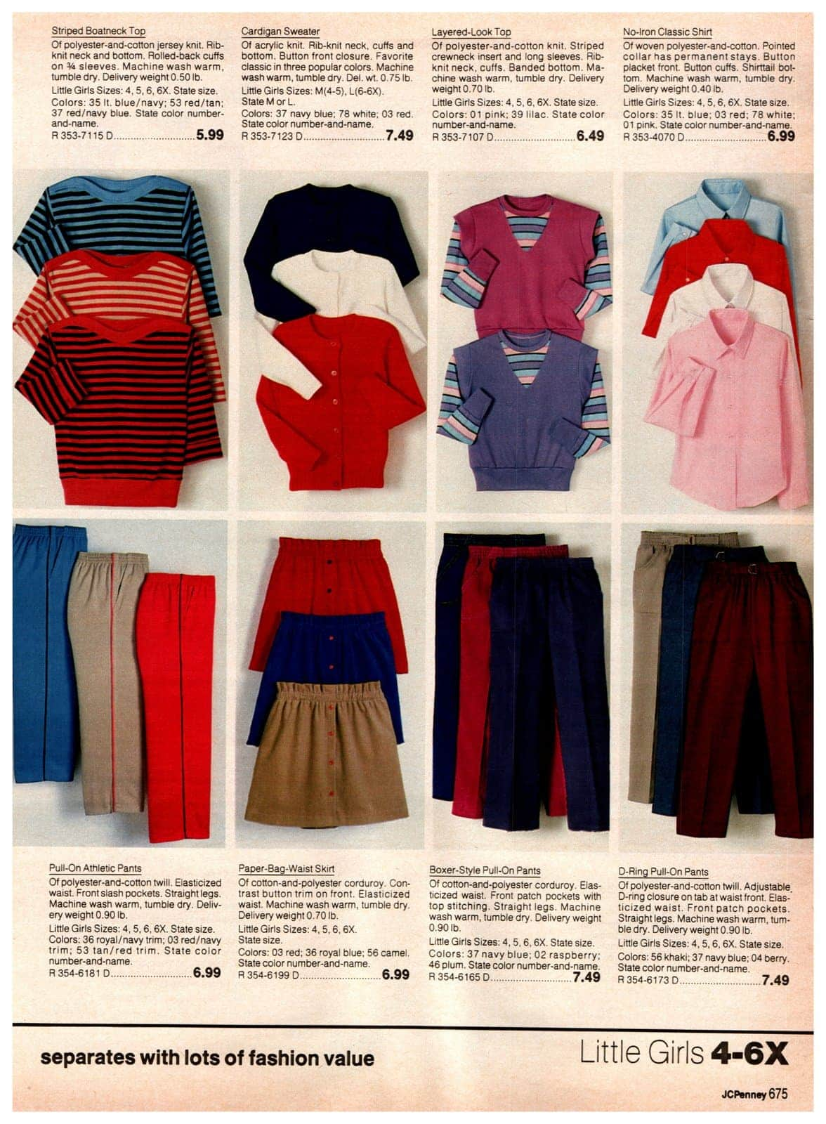 Stiped boatnet tops, cardigan sweaters, layered-look tops and no-iron classic shirts