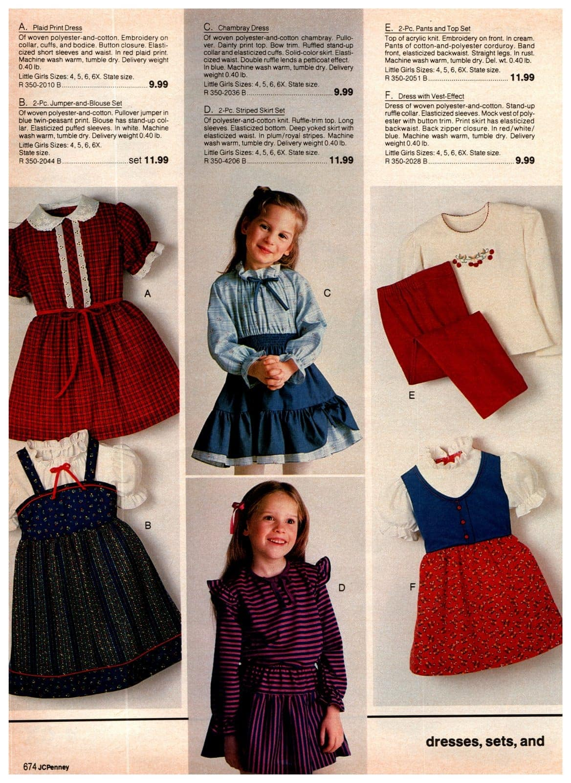 Little dresses and top and pants sets for kids