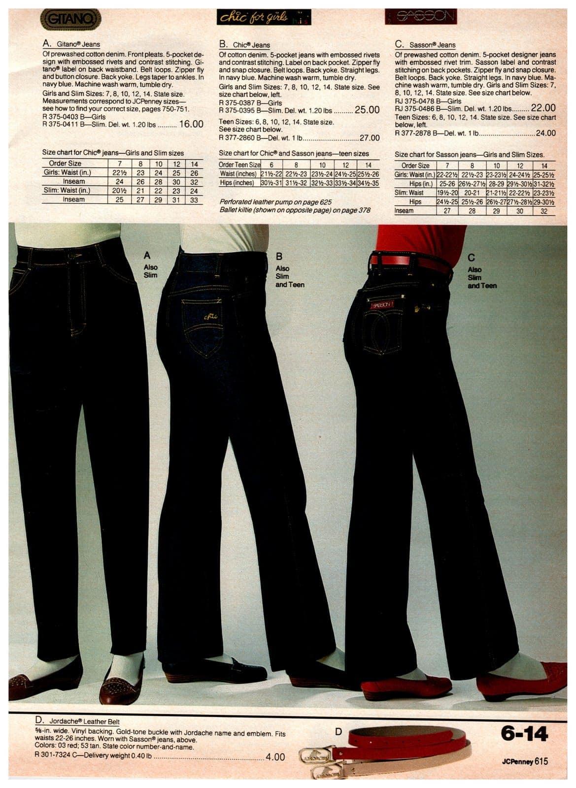 Popular designer jeans, including Gitano, Chic for Girls and Sassoon 5-pocket jeans - plus a Jordache leather belt