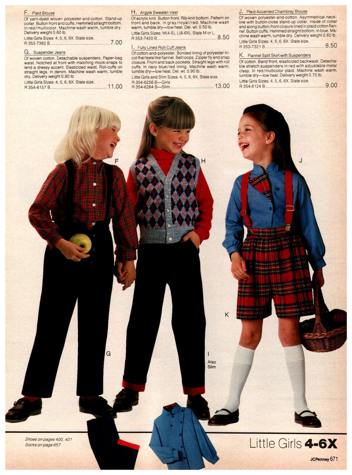 Preppy vintage '80s styles for young girls