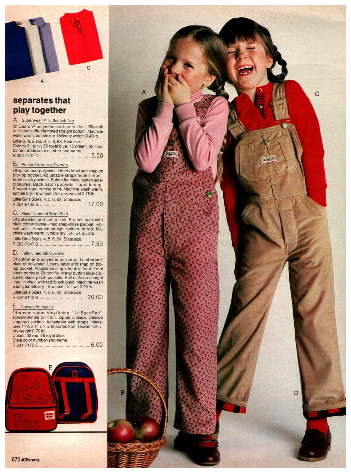 Corduroy bib overalls for little girls, with turtleneck tops and plaid-trimmed work shirts